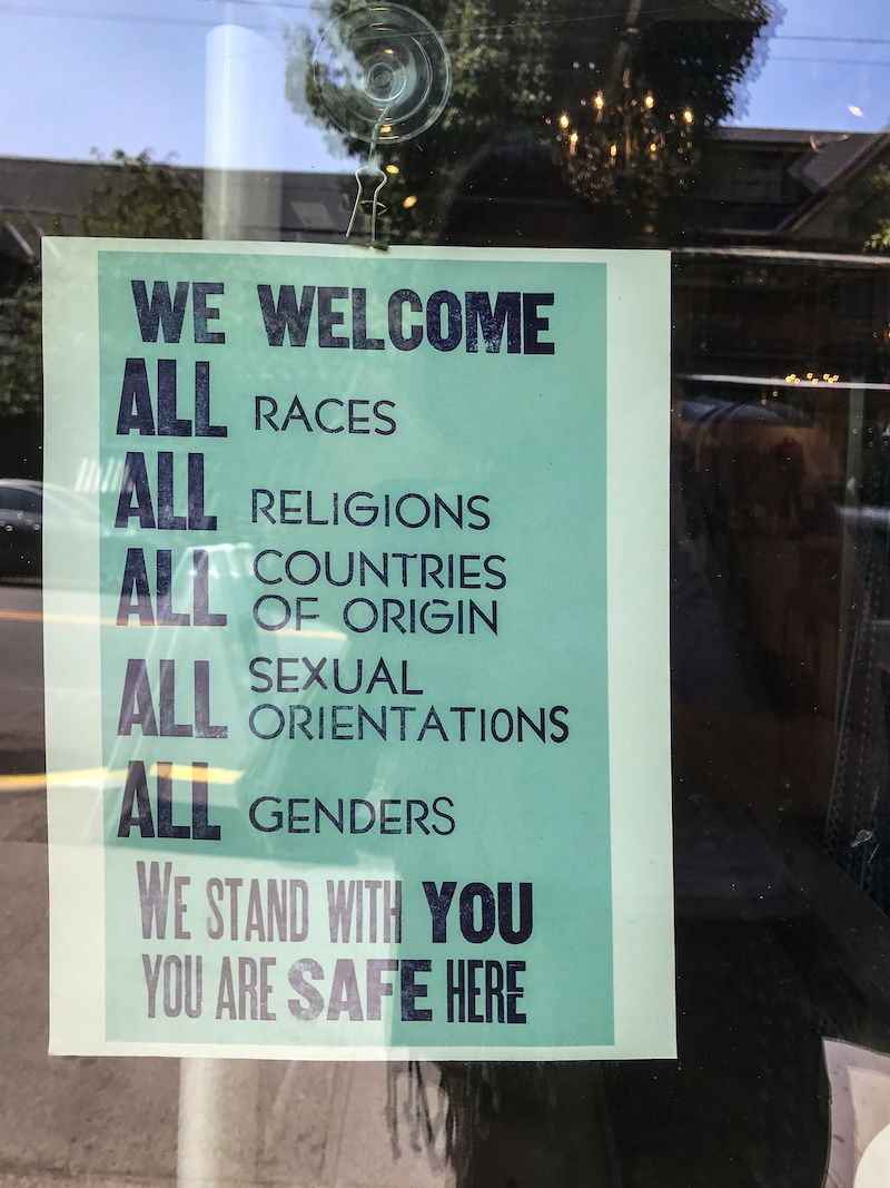 Signs like this were all over businesses & homes in portland