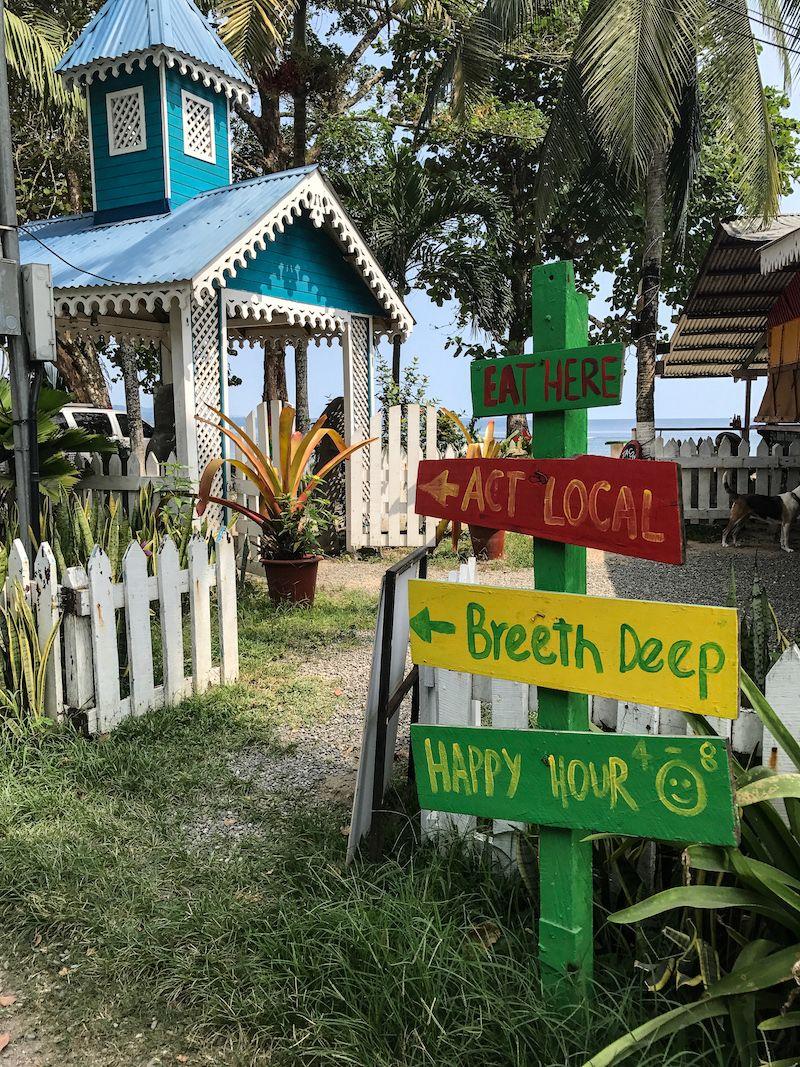 Puerto Viejo Costa Rica eat here rasta sign