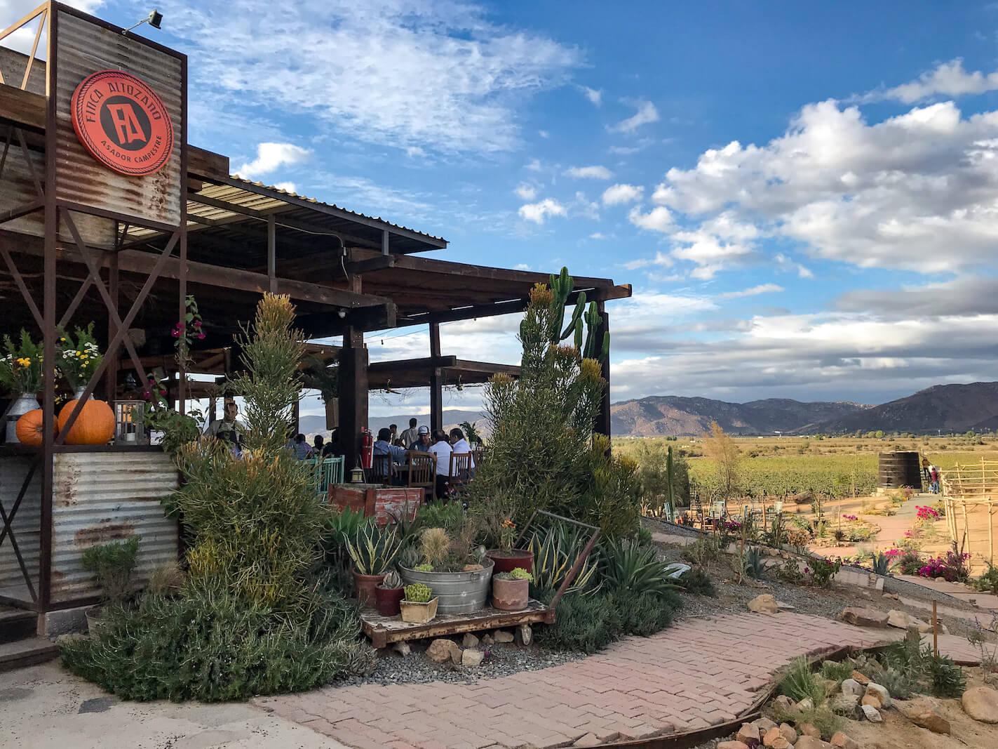 Finca Altozano restaurant in Valle de Guadalupe, Mexico