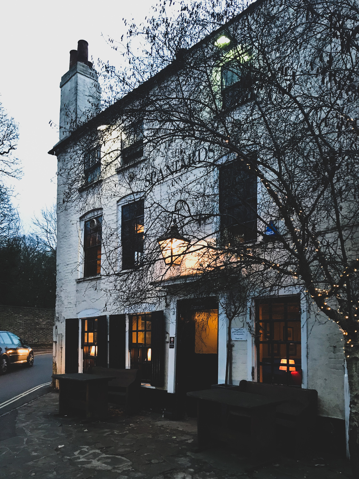 a wintery spaniards inn, north london