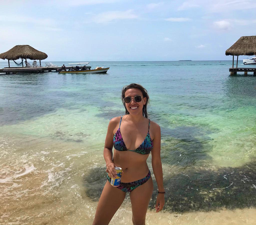 Stephanie on Playa Libre Isla Grande Colombia