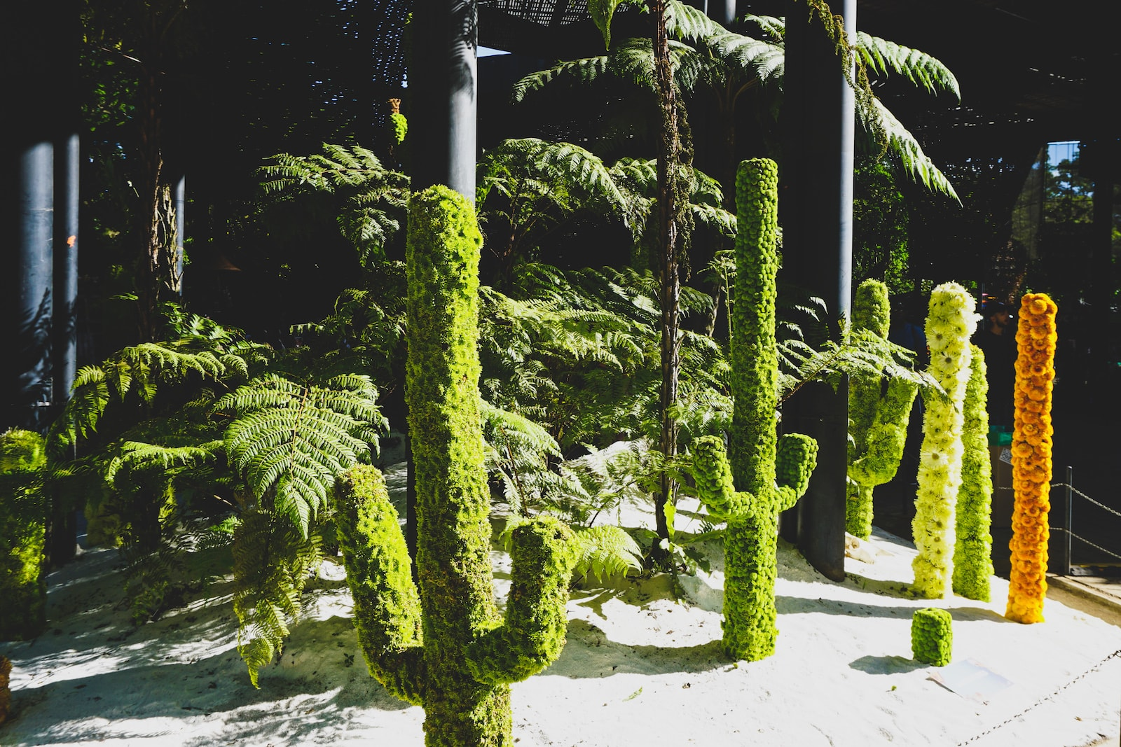 cactus made of flowers at Jardin Botanico during flower festival in Medellin