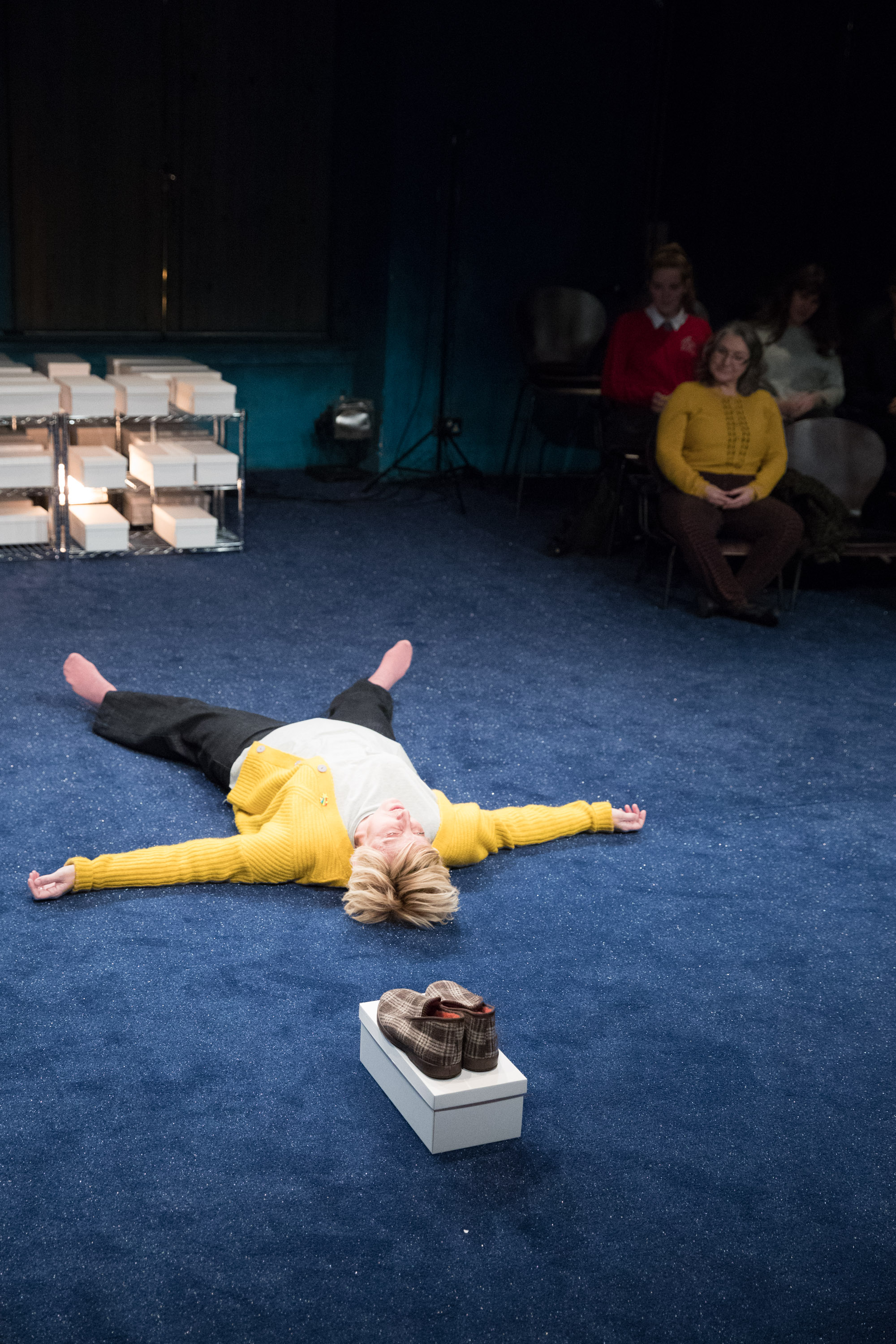 The Greatest Play in the History of the World - Royal Exchange Theatre, 2018Traverse Theatre, 2018A man wakes in the middle of the night to discover that the world has stopped.Through the crack in his bedroom curtains he can see no signs of life at all...other than a light in the house opposite where a woman in an oversized Bowie T-shirt stands, looking back at him.The Greatest Play... is a love story, set on Preston Road and also in space and in time.Director Raz ShawWriter Ian KershawNarrator/Sarah Julie HesmondhalghDesign Naomi Kuyck-CohenLighting Design Jack KnowlesSound Design Mark MelvilleProducer Tara Finney ProductionsProduction photographs Jonathan Keenan