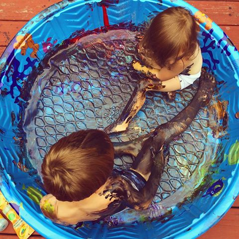 """Day two photo by challenge participant Missy Perron - """"My kids ask to use the finger paint at least 50 times per year. I allow them to use the finger paint maybe twice a year. Today was their lucky day and they were really 'into' it."""""""