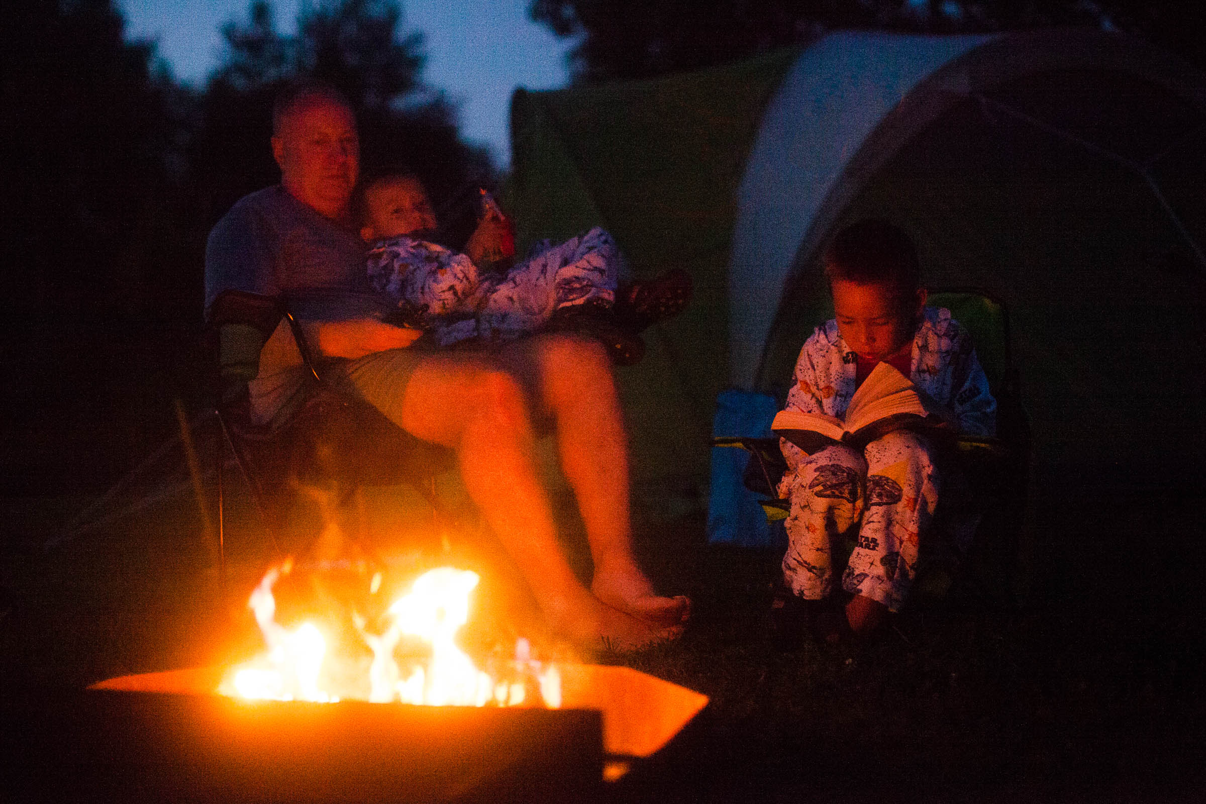 The campfire was a good source of light but this was still at ISO 12,800, 1/160 at f/1.8.