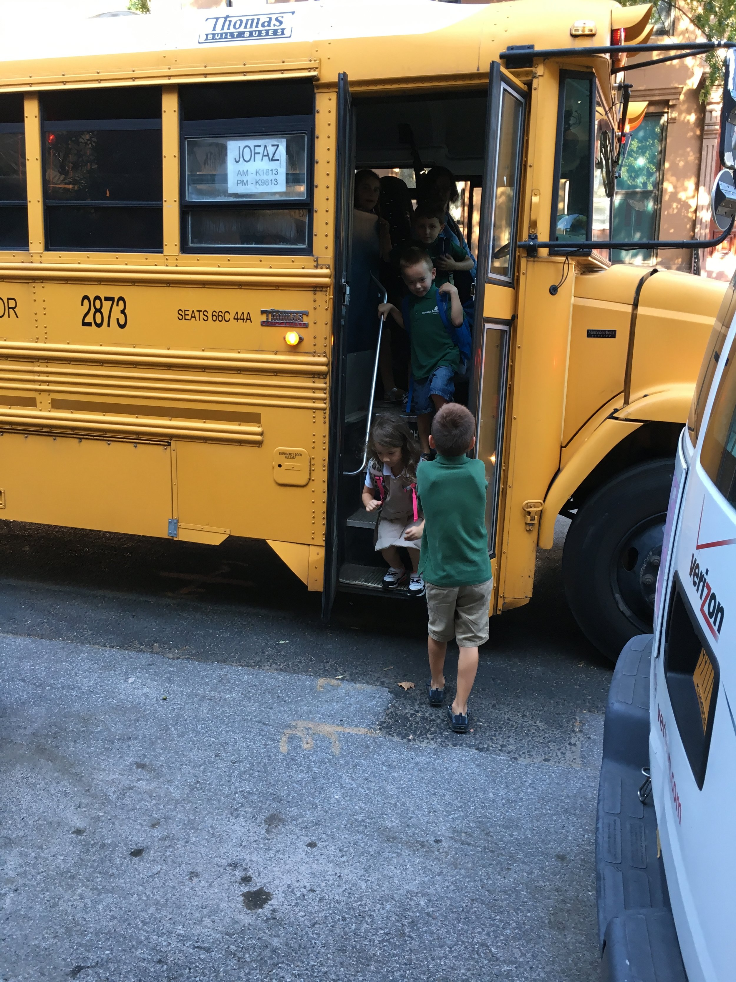 Things move fast at the school bus pick-up too.
