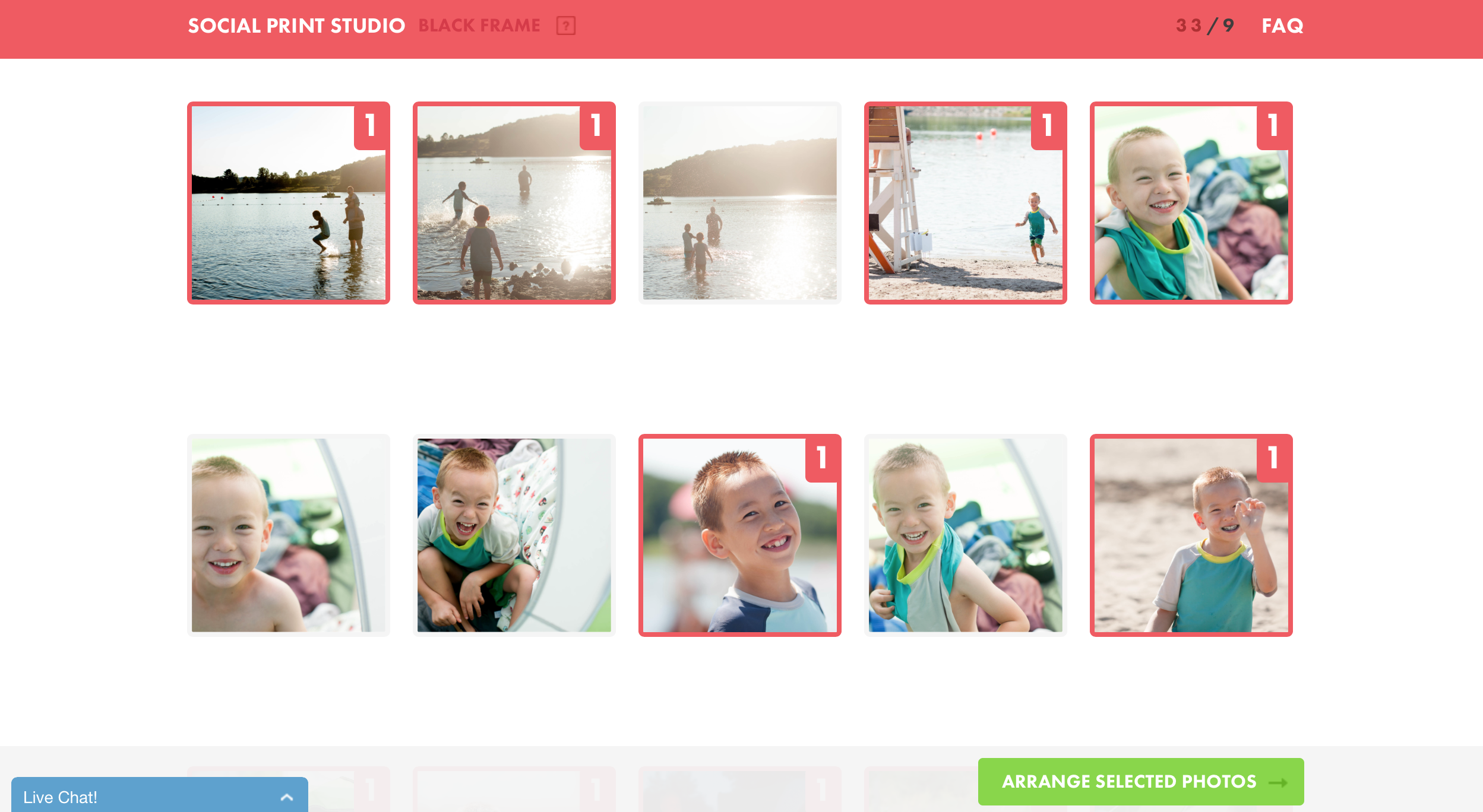 You can upload your photos and narrow down your selection right within the Social Print Studio website.