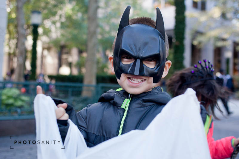 Jack trick-or-treating at the school parade. Of course, he is dressed as Batman most days at our house so it didn't seem particularly special, but he was happy and that's what counts. That smile slays me!