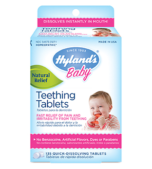 HOMEOPATHIC TEETHING TABLETS. HAPPY NO PAIN BABY