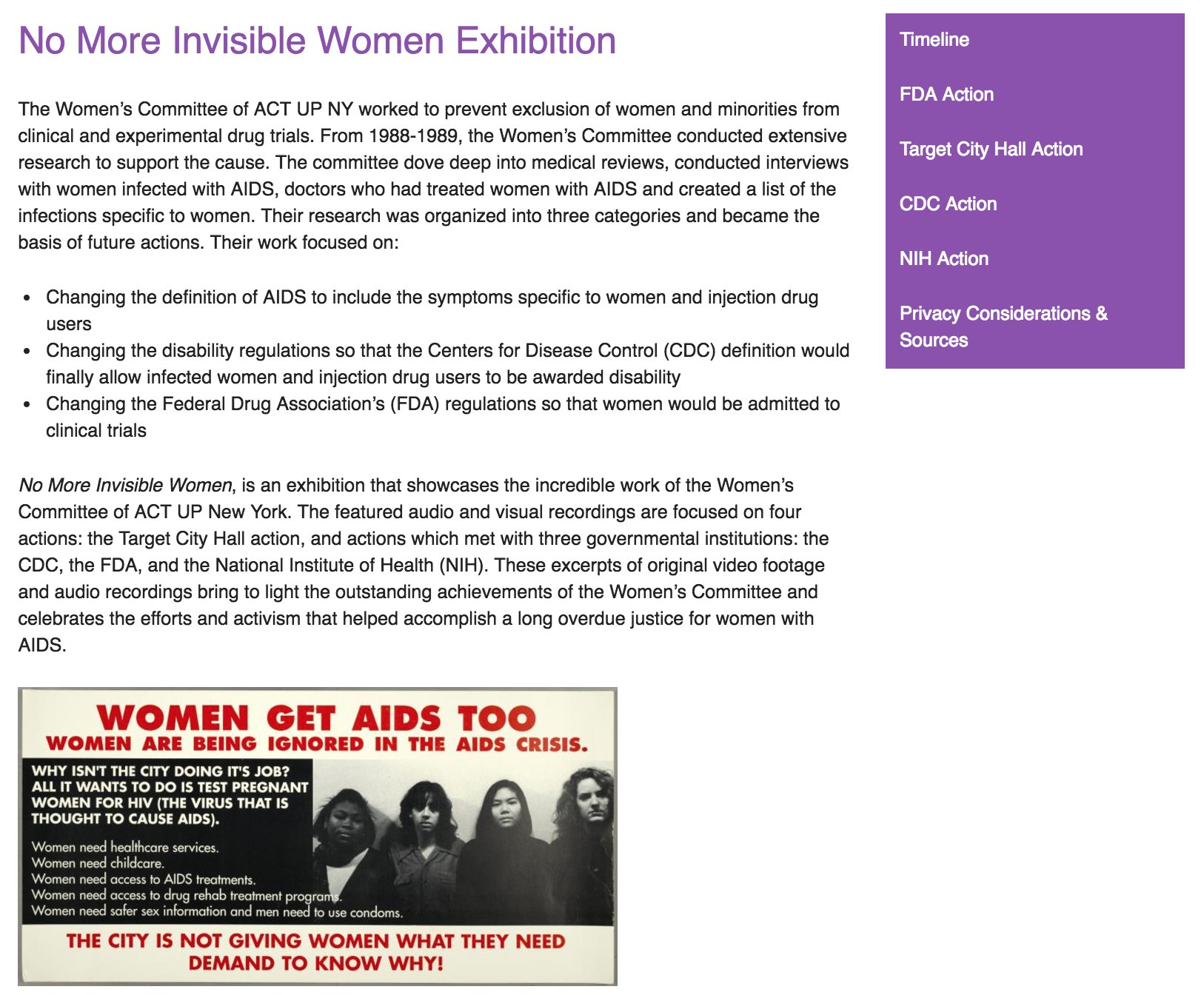 Screenshot of the exhibition's home page.