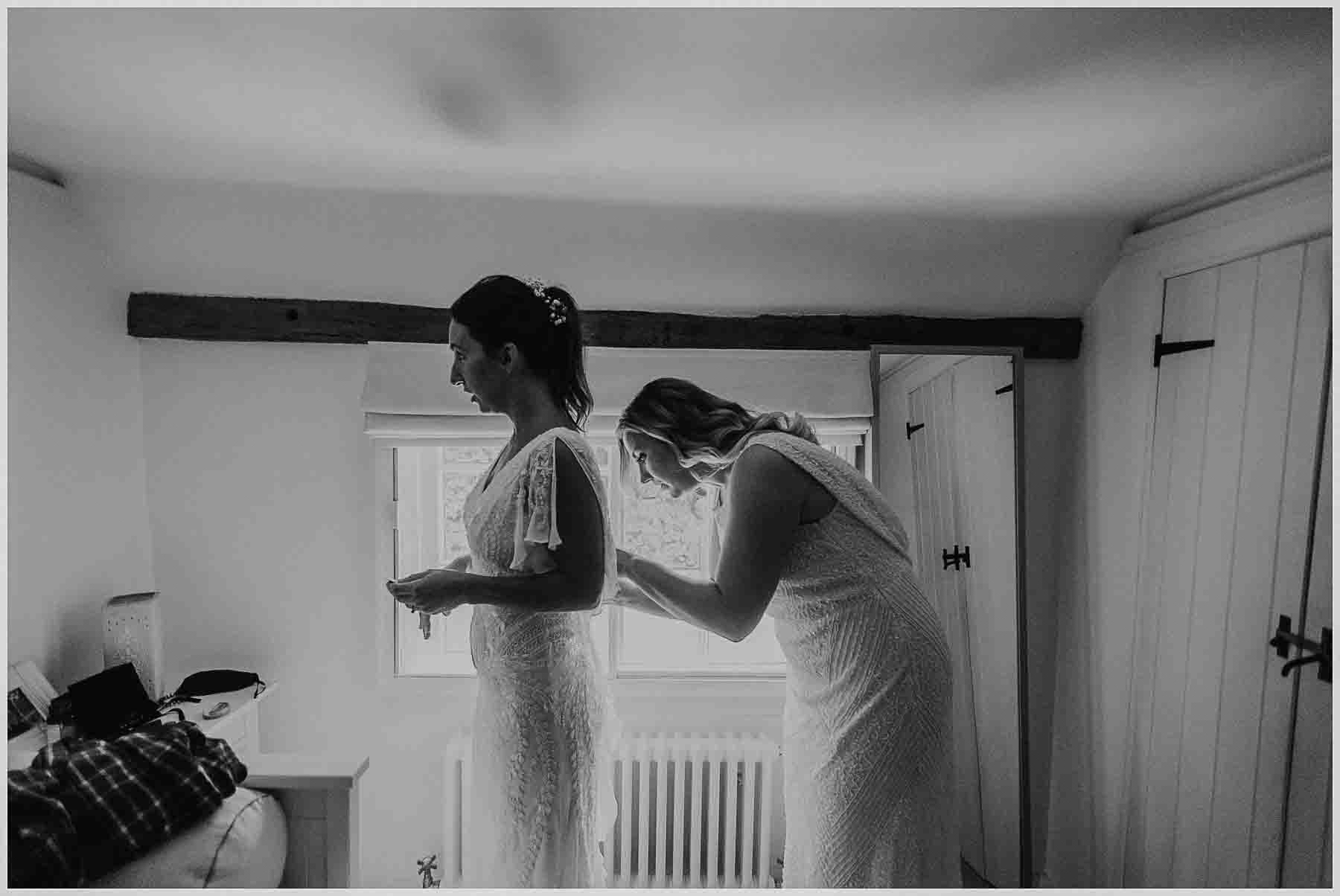bride getting ready for her tipi wedding