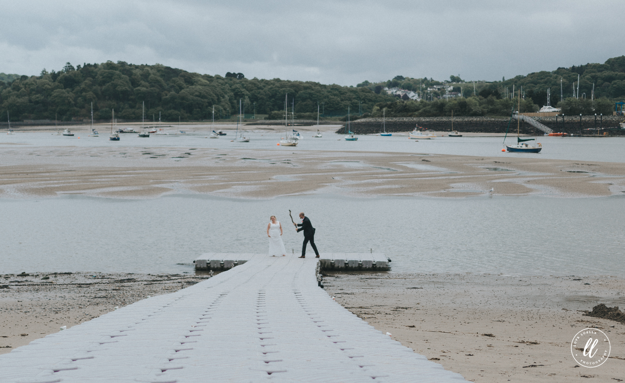 the groom acting up at Deganwy coast