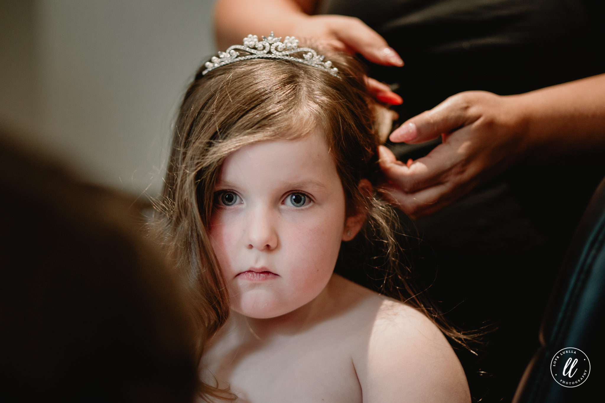 Flower girl getting her hair done by Pin ups Rhyl