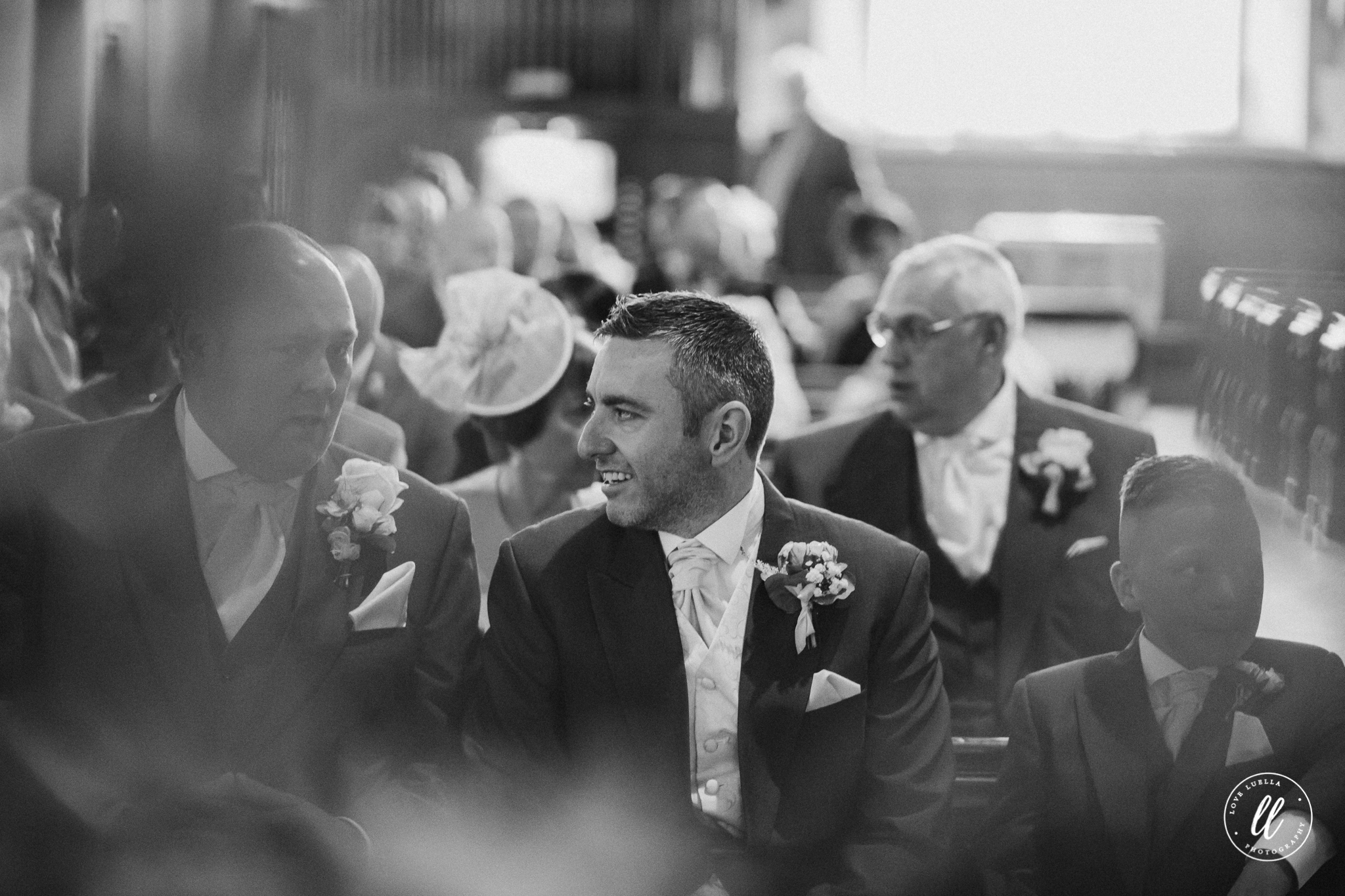 The groom and his men waiting patiently for Vicky to make an entrance