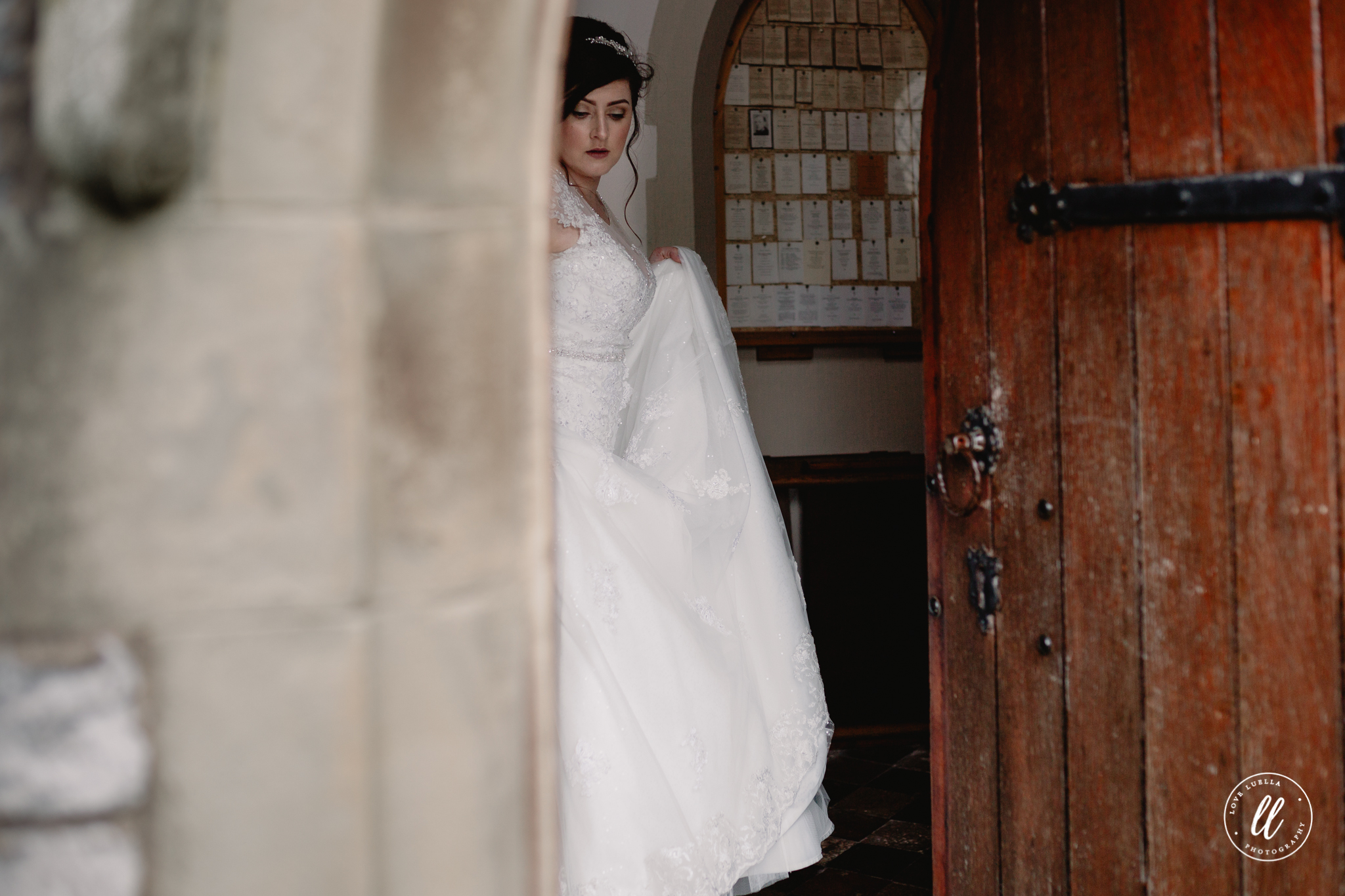 Bride arrival at The Pantasaph Friary, a quiet moment of reflection before the ceremony