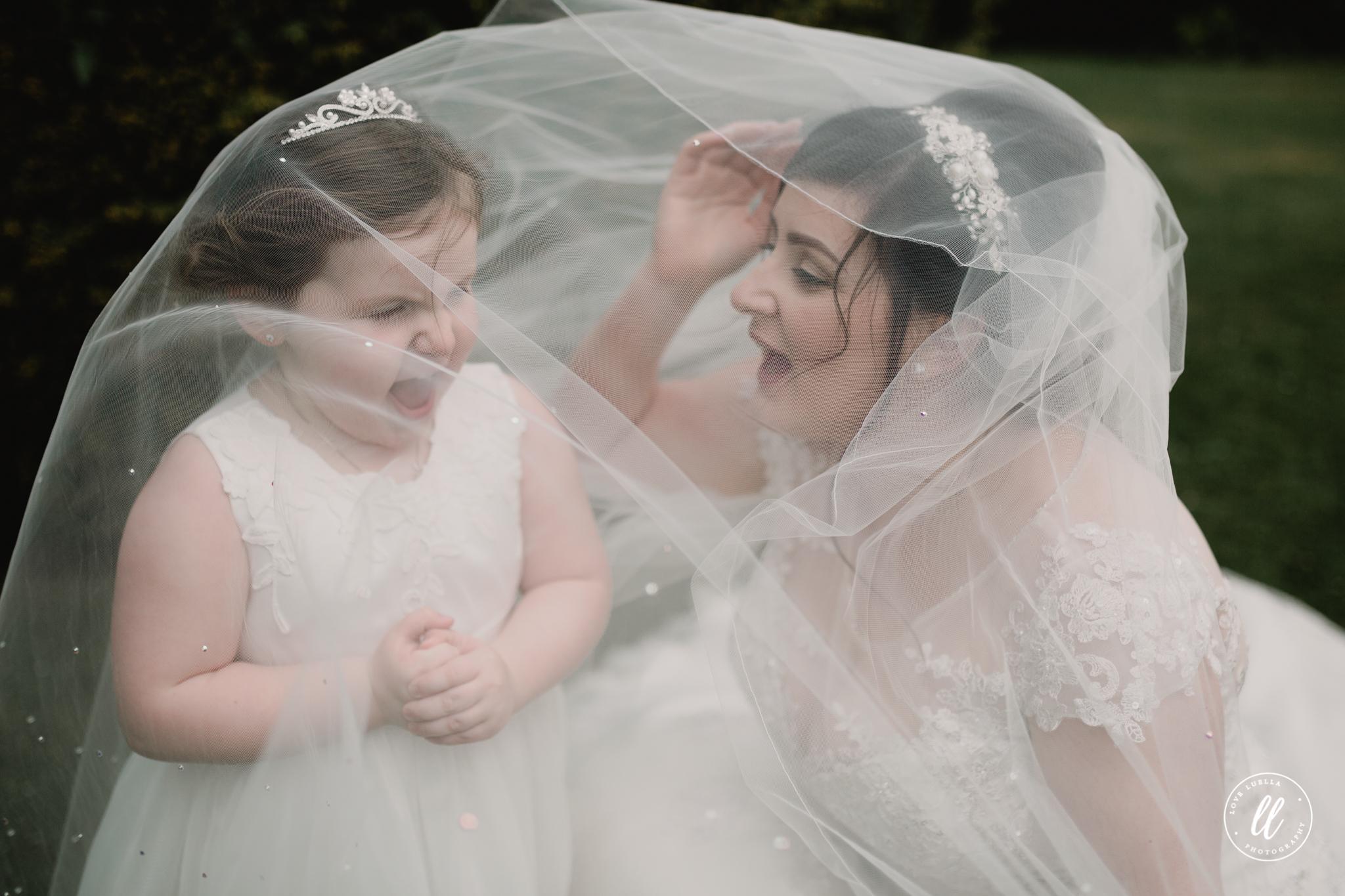 A fun Bride and Daughter portrait