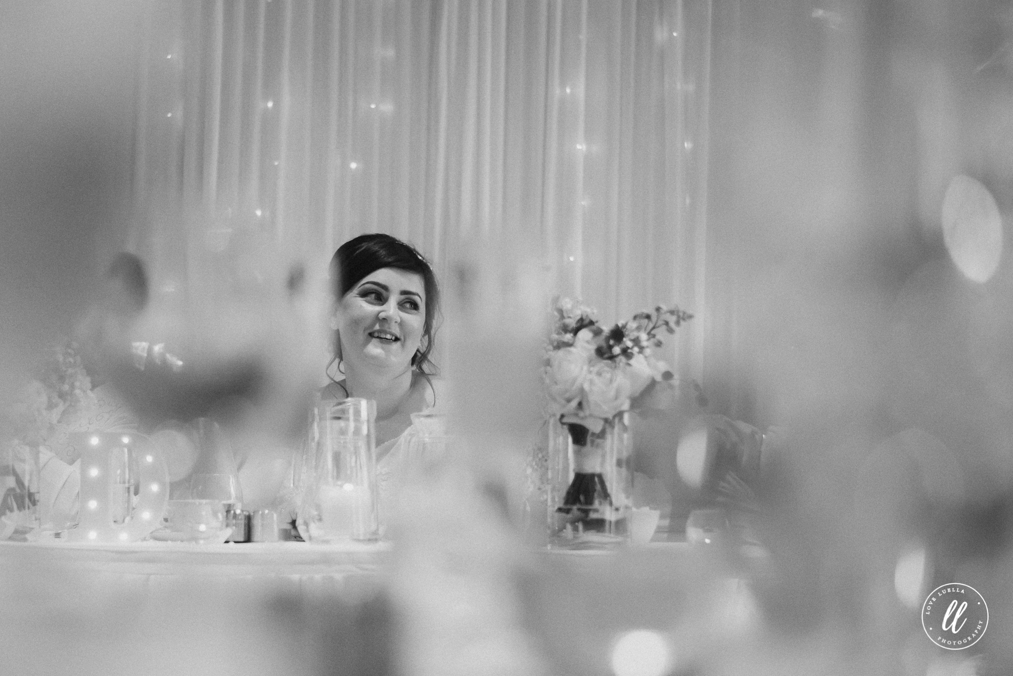 the bride shot through the table pieces