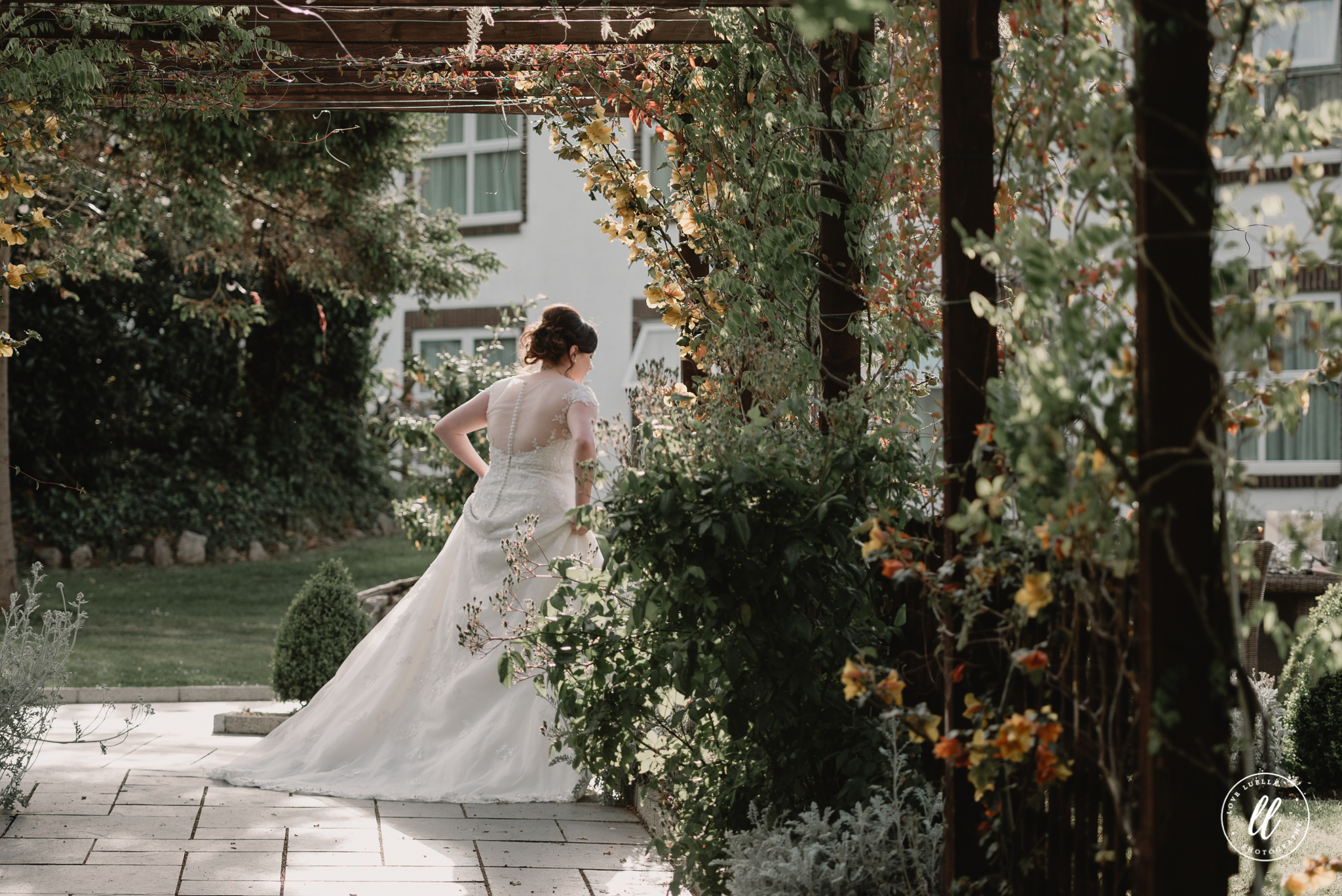 the bride making her entrance to The Kinmel, Abergele