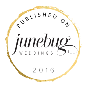 Clickable award to view published work on Junebug Weddings Blog