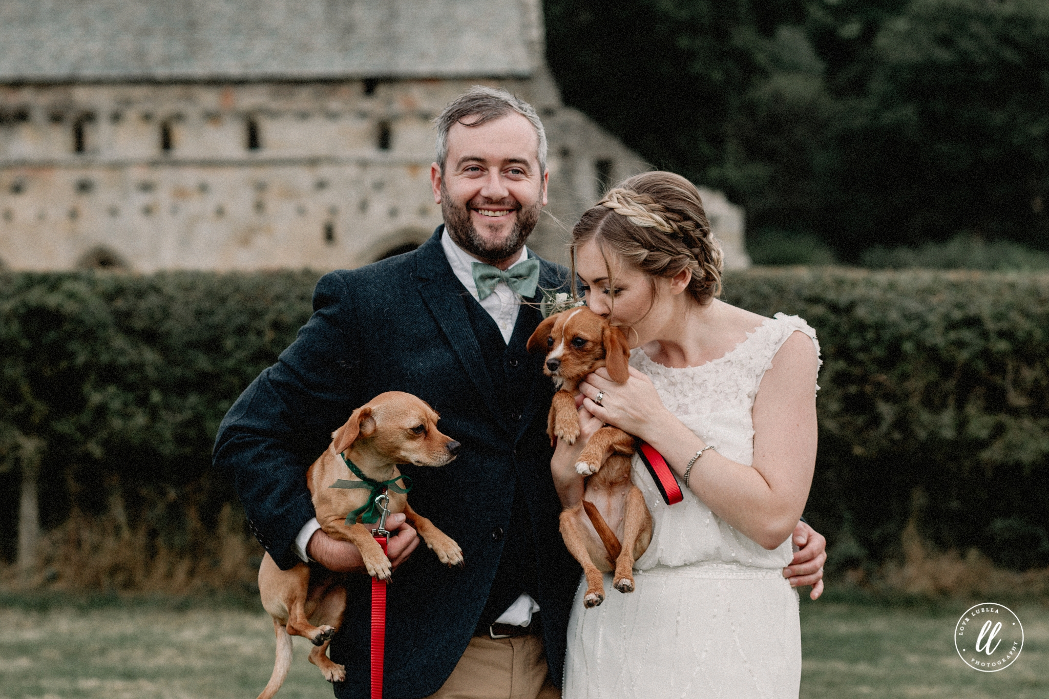 The Newlyweds And Their Two dogs At Valle Crucis Abbey