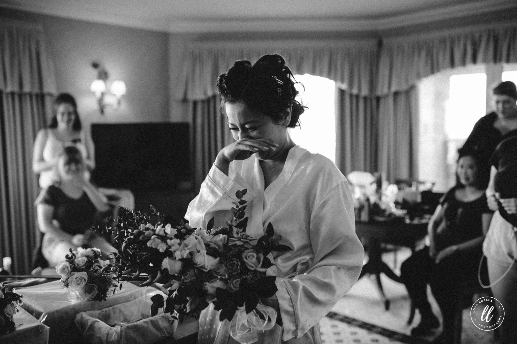 Emotional Bride With Wedding Flowers