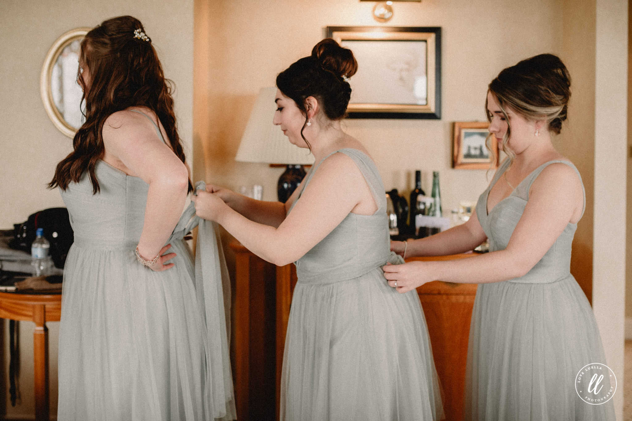 Bridesmaids Getting Ready In Sync