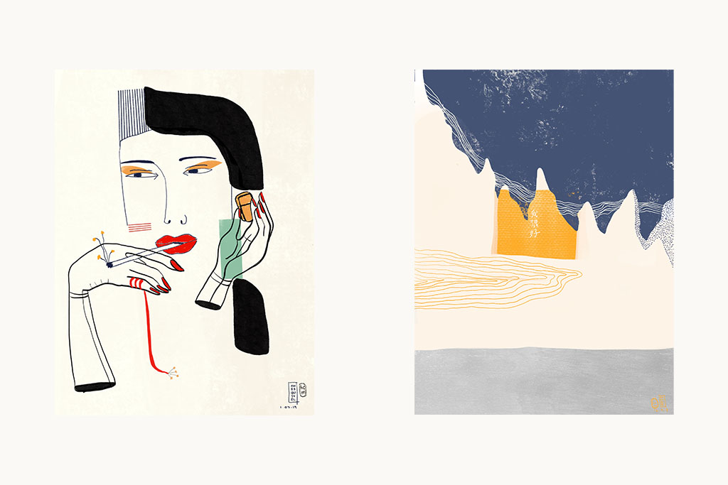 c/o:  PEN PAL PROJECT 01 , Left: ' Modern Lady ', Right: ' El Nido Cave '