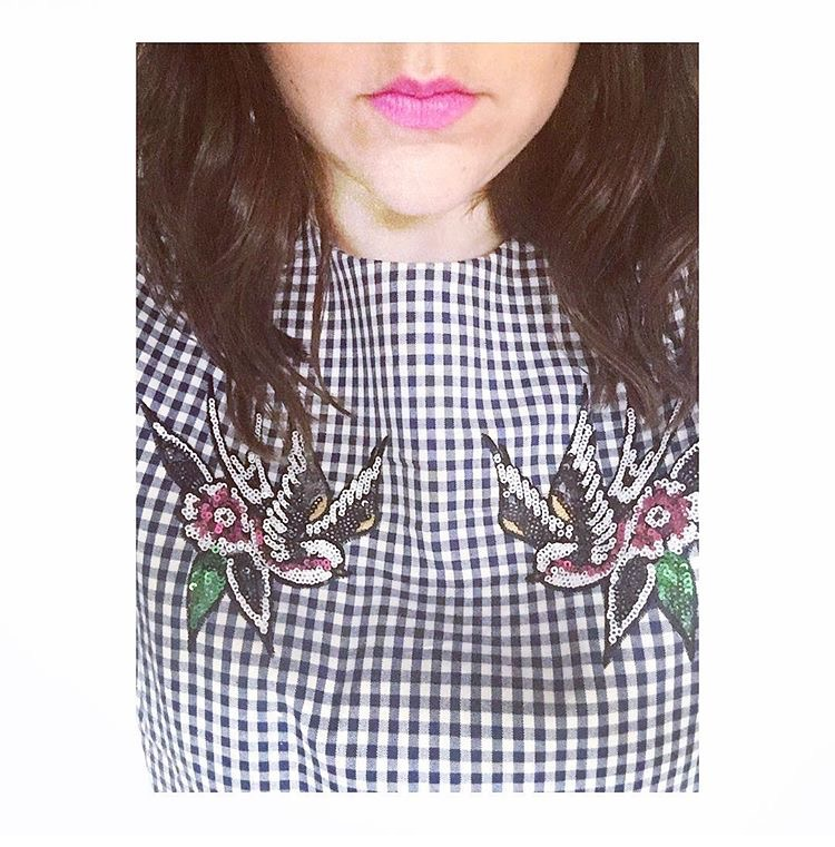 ASOS Gingham sequin bird top