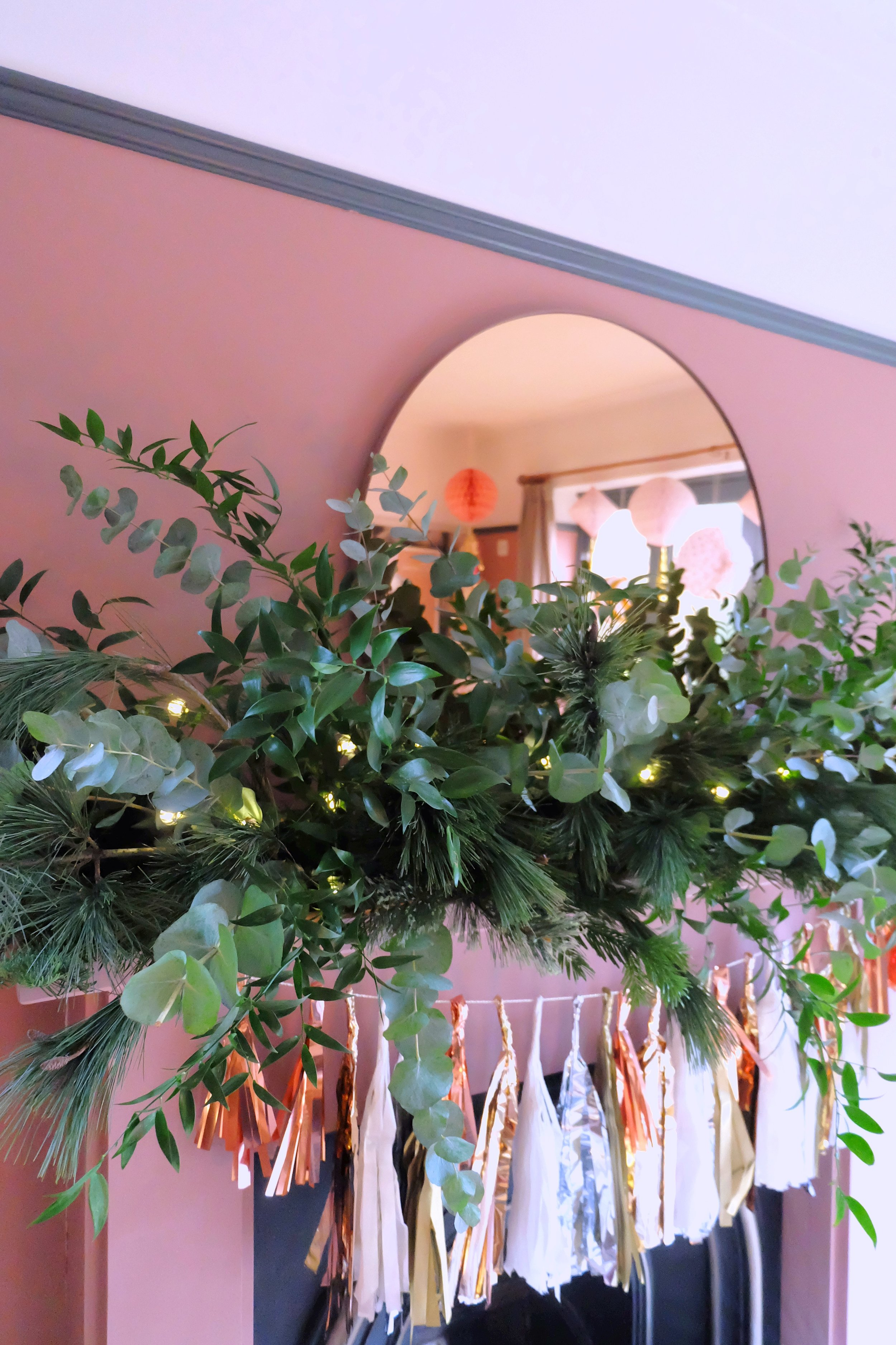 Festive foliage mantelpiece