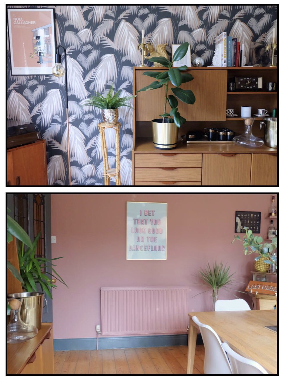 Pink tropical dining room