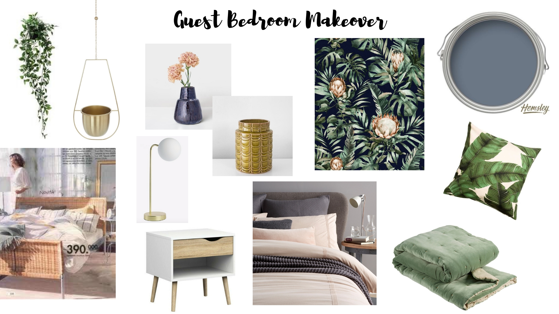 Hotel style bedroom moodboard