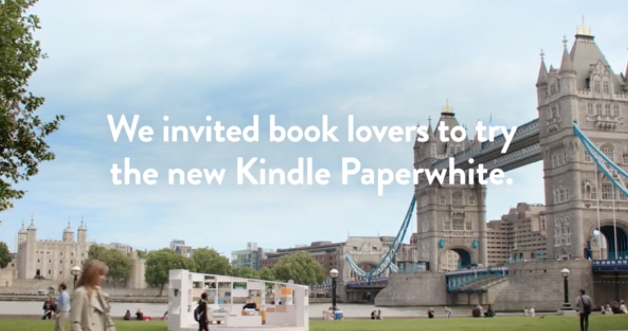 """Amazon needed to convince nay-sayers around the world to give the new Kindle Paperwhite a try. We created an international TV campaign featuring everyday people rooted in the idea """"you've got to read it to believe it."""" I'm proud to have been a driver of every aspect of this successful campaign — from concepting to filming in New York, London and Berlin. Click to watch."""