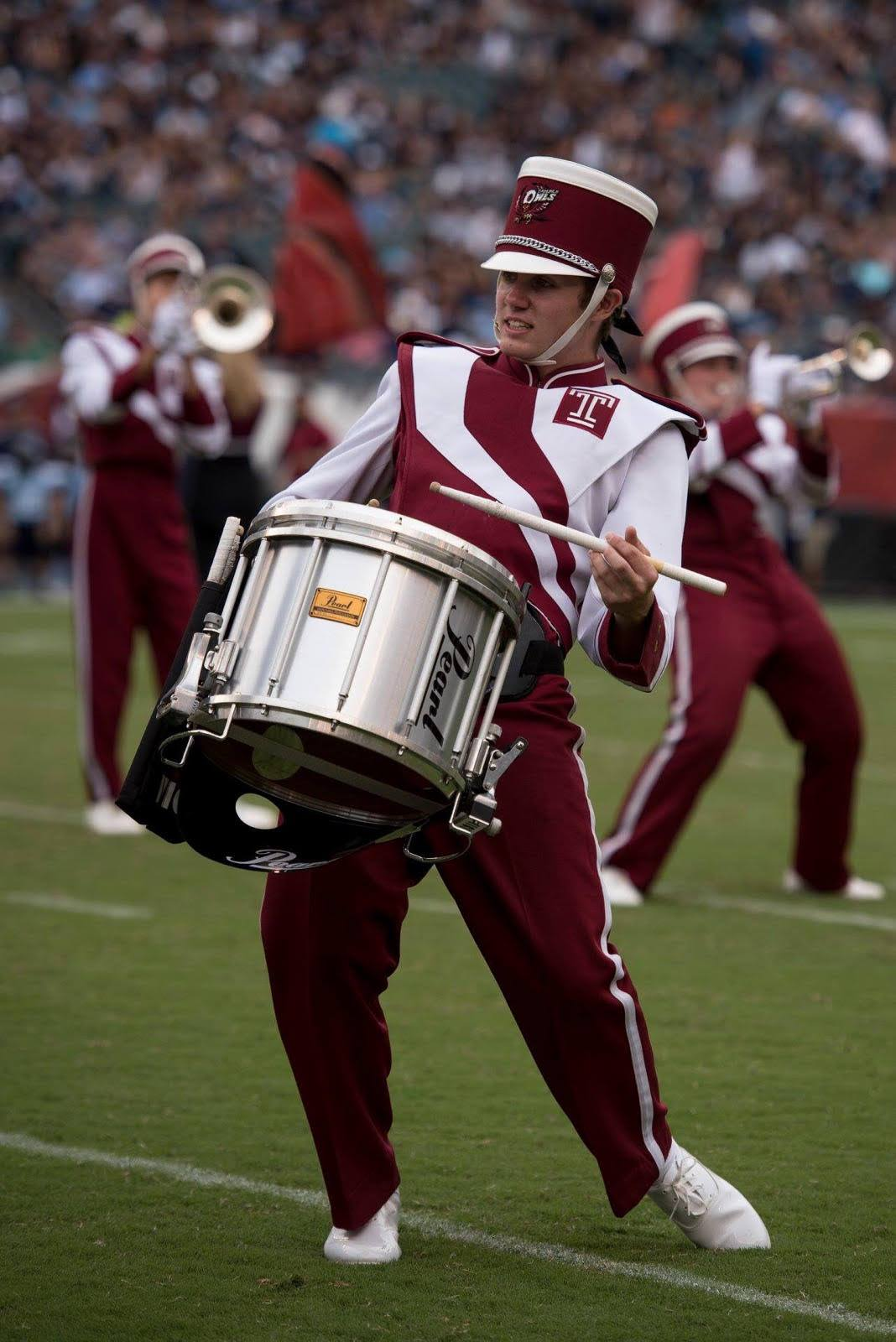 Jared now plays drums in Temple University's Marching Band