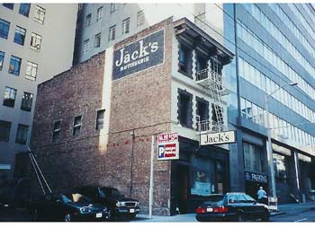 Jack's is eclipsed by downtown San Francisco skyscrapers.