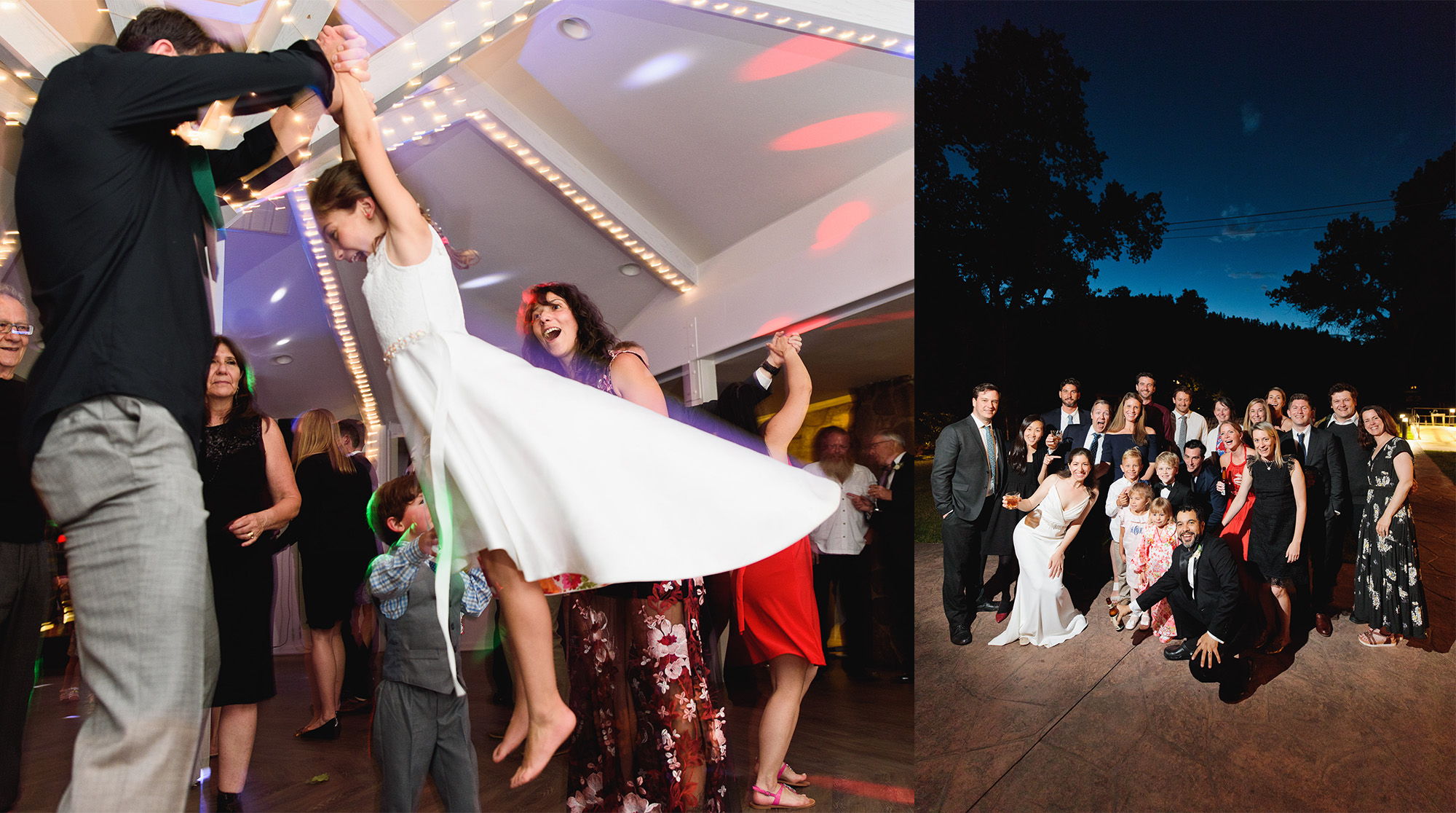 During the reception one photographer can capture the dance floor action (left), while a second photographer can handle instant group photo requests (right).