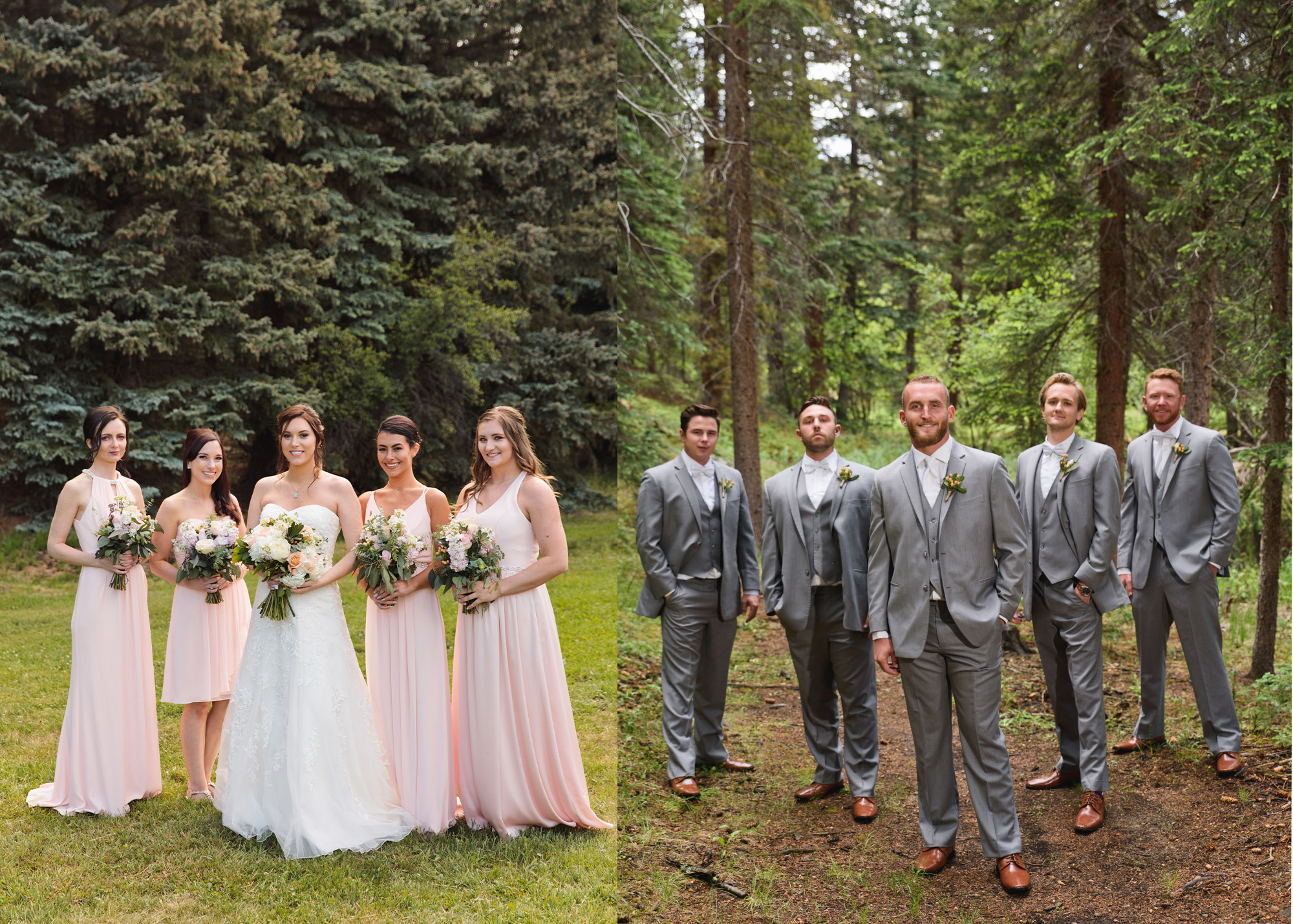 These images were captured at approximately the same time by one photographer assigned to the bride (left) and another for the groom (right). One photographer can manage to do both, but if things run the least bit behind schedule, the photographer will be rushed and the creativity in lining up the groups may show it.