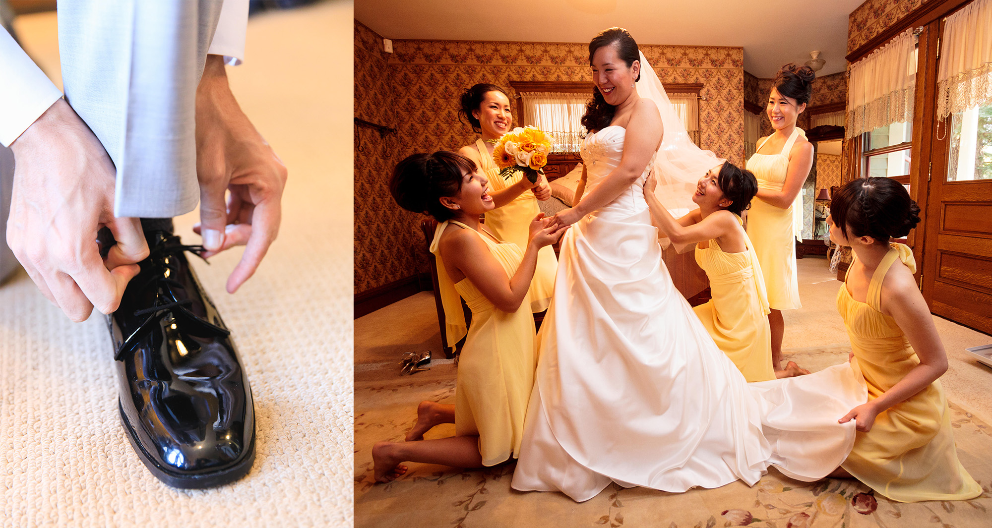 A groom ties his shoe (left) while a bride is helped into her dress (right) at the same time on different floors of the venue. Two photographers can capture moments in different locations, simultaneously.