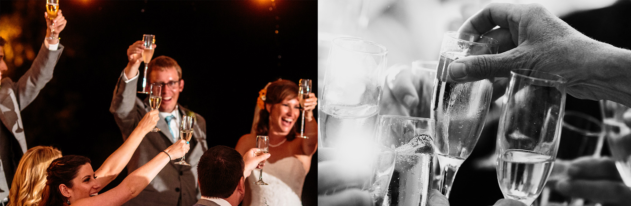 Same toast, with one photographer on the bride + groom (left) while a second photographer is watching the guests (right).