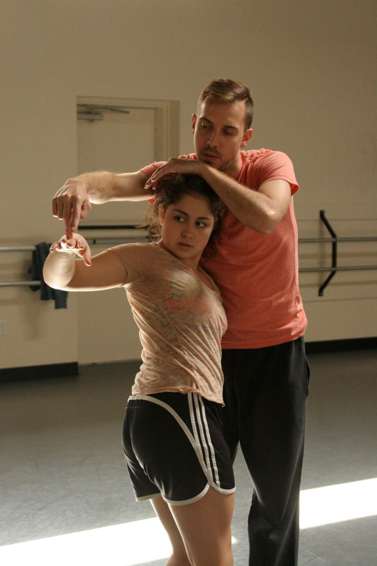 Dancer Steffani Lopez and Artistic Director Joshua L. Peugh rehearsing a new duet for our  Winter Series JAN 29-31