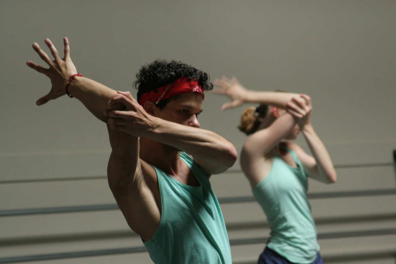 Dancer Salvatore Bonilla rehearsing Guest Choreographer Mike Esperanza's new work