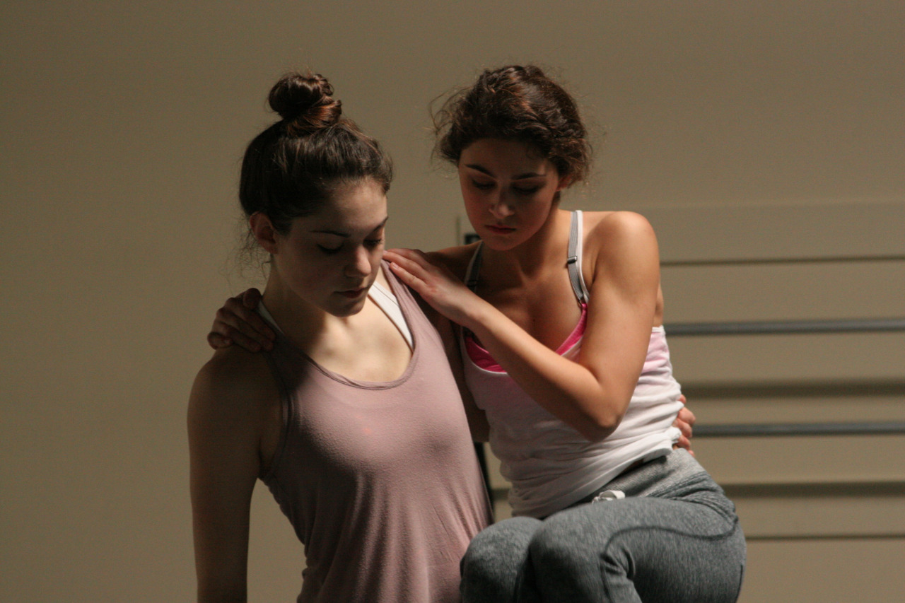 Dancers Julie Kaye and Emily Bernet rehearse Louis Acquisto's  Nemesis Variations     WORLD PREMIERE MAR 13-15    GET TICKETS:  http://www.darkcirclescontemporarydance.com/