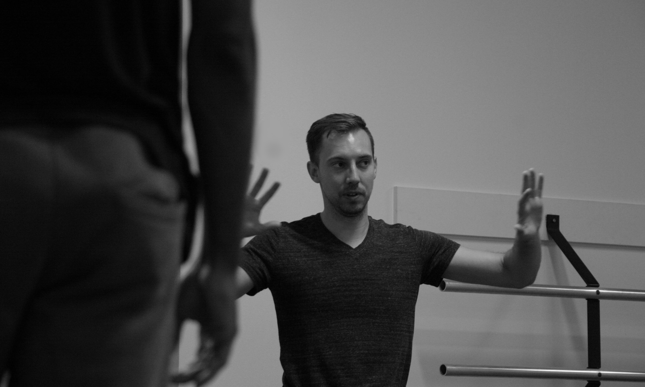 Joshua L. Peugh rehearsing the company in  Big Bad Wolf
