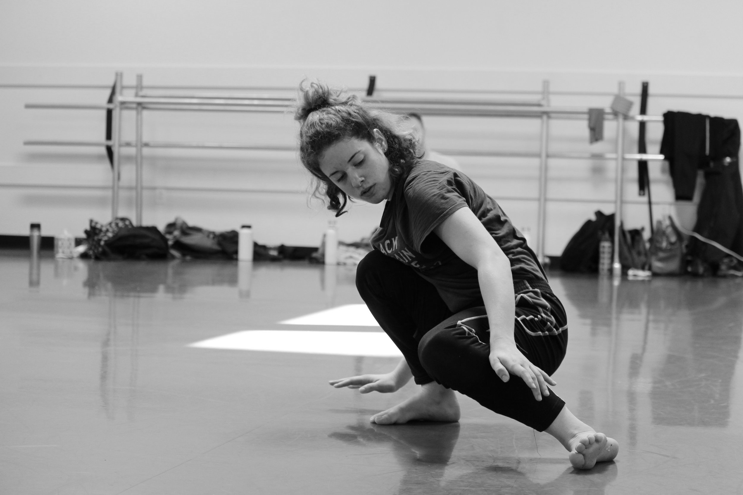 Victoria rehearsing her solo in Lamb's new creation.