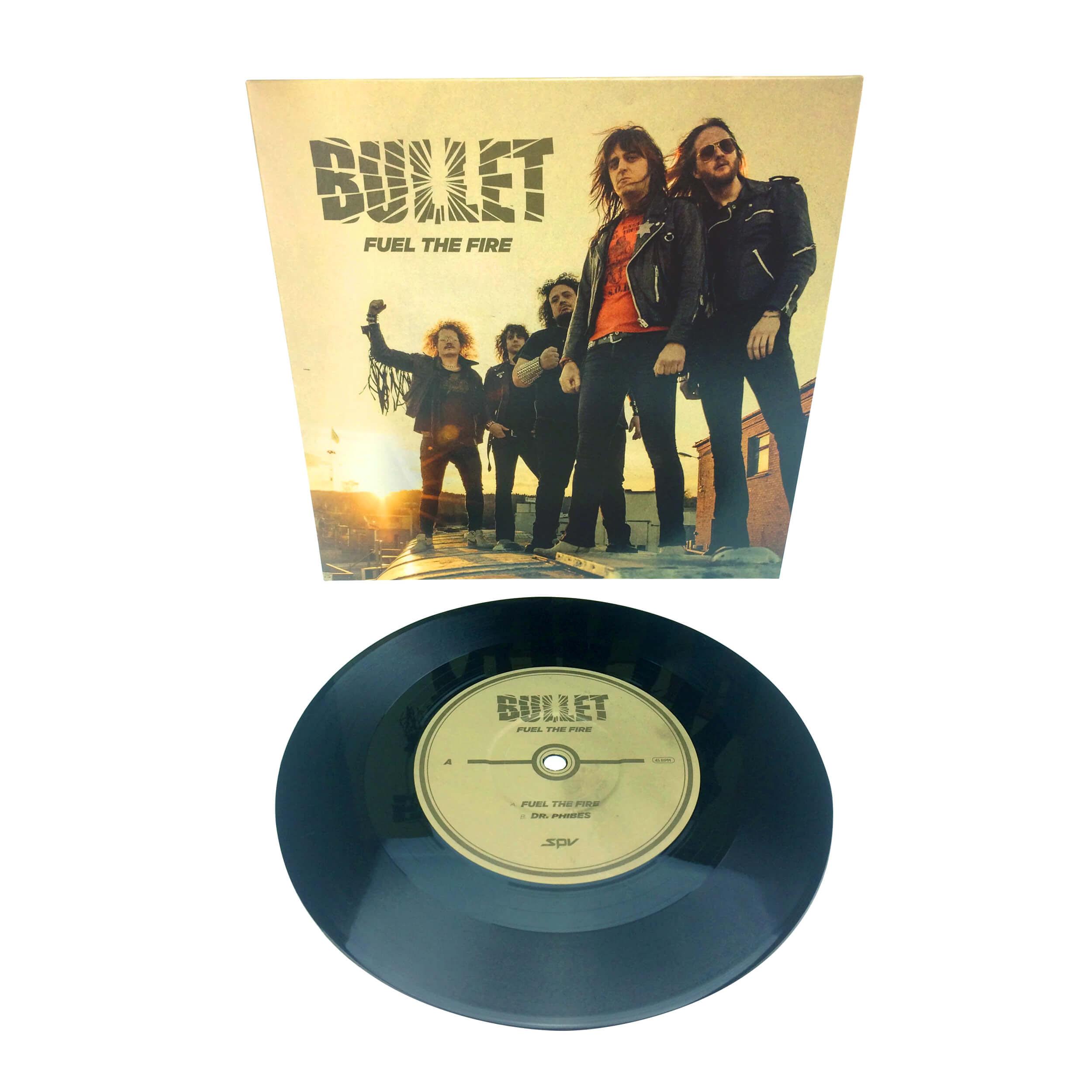 "Swedish Metal band  Bullet have released a new digital single and video today. The new song   ""Fuel The Fire""  is taken from the forthcoming studio album ""Dust To Gold"". The song is also available as a limited 7"" vinyl version with a cover version of  ANGEL WITCH's "" Dr. Phibes"" on Side B.    You can watch the video here:    https://youtu.be/M_KTlSbaVUU    The new album  ""Dust To Gold"" will be released through  Steamhammer/SPV on  April 20th 2018 as  CD digi  (incl. poster) / 2LP gatefold  (golden vinyl) / download / stream : https://Bullet.lnk.to/DustToGold      BULLET live 2018:   21.04. SE- Vaxjo - Strandbjörkshallen  (Release Show, new)   03.05. DE- Berlin - Musik&Frieden  04.05. DE- Leipzig - Hellraiser  05.05. DE- Markneukirchen - Framus&Warwick Music Hall  06.05. DE- Bochum - Matrix  07.05. BE- Genk - Colosseum  09.05. ES- Vitoria - Jimmy Jazz  10.05. PT- Lisbon - RCA Club  11.05. ES- Madrid - Caracol  12.05. ES- Barcelona - Razzmatazz 3  13.05. ES- Valencia - Paberse Club 14.05. FR- Saint Etienne - Thunderbird Lounge (new)   15.05. FR- Paris - Le Klub  16.05. UK- London - Islington o2 Academy 2  17.05. DE- Siegburg - Kubana  18.05. CH- Pratteln - Z7  19.05. DE- Mannheim - MS Connexion Complex  20.05. AT- Vienna - Escape  21.05. HU- Budapest - Dürer Kert  22.05. CZ- Ostrava - Barrack Music Club  23.05. DE- Munich - Backstage  24.05. DE- Nürnberg - Der Cult  25.05. DE- Kassel - K19  26.05. DE- Osnabrück - Bastard Club  27.05. DE- Hamburg - Logo  01.06. SE- Bladinge - Muskelrock  06.06. SE- Sölvesborg - Sweden Rock Festival  15.06. SE- Norköping - Metallsvenskan  08.12. DE- Balingen - Volksbankmesse  (BYH Christmas Party)    For More Info Visit:     http://www.bulletrock.com/      https://www.facebook.com/bulletband/      https://www.facebook.com/steamhammerofficial/"