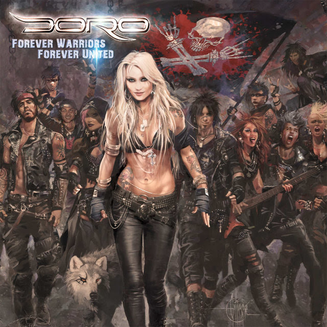 """The long-awaited new studio album of  DORO will be released on August 17th, 2018 via Nuclear Blast ! Today, the metal queen is proud to announce the title of the follow-up to her hugely successful release  Strong & Proud  (2016, #1 Finland, #2 Germany, #3 UK & Sweden): Get ready for   Forever Warriors, Forever United  !   DORO 's 20th album will be a huge milestone as the band's first-ever double album, so fans can expect 24 brand new songs from the metal queen, which will also undoubtedly feature some stunning surprises.  The album cover artwork was once again created by  DORO 's favorite artist  Geoffrey Gillespie . It portrays  DORO  in the middle of a swarm of wild metal heads exuding attitude, power and a lot of positive vibes.   """"The cover and the title form a perfect unit,""""  DORO explains, """"Just as it should be. It all fits perfectly in line with the songs, which also deal with some political themes.""""    """"There are some big anthems on the album, countless heavy songs, as well as heart-warming melodies! The album is supposed to give you power and thus contains a lot of energy!""""    DORO  continues: """"On  Forever Warriors, Forever United, there will be a lot of big rock heroes. Fans might be curious about the many awesome guest musicians involved.""""     Fans can note that the first single  """"All For Meta"""" will feature several metal heroes, who can also be seen in the upcoming music video which will be released in May. The list of these stars will be unveiled soon... and  DORO is already convinced  """"that 'All For Metal' is going to be the new 'All We Are'!""""   Guitarist Doug Aldrich  ( WHITESNAKE , DIO , DEAD DAISIES ) and former  WARLOCK  guitarist  Tommy Bolan , who also contributed to the highly acclaimed album   Triumph & Agony  in 1987, will of course also be part of the new album.   DORO live:  09.06. D  Berlin - Zitadelle Spandau (w/ SWEET ) 16.06. D  Hamminkeln - Thunderbike Jokerfest 21.06.  B  Dessel - Graspop Metal Meeting 07.07. RUS  Novokuznisk - City An"""