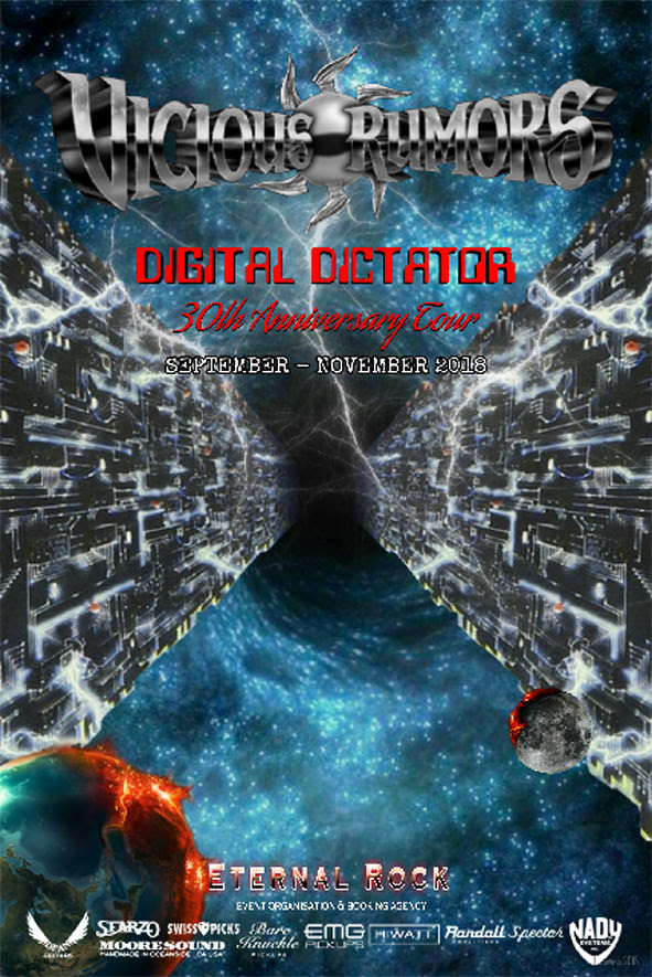 "Vicious Rumors  promised a major announcement, and here it is! 2018 marks the 30th anniversary of VR's critically acclaimed   Digital Dictator   album. To celebrate this epic milestone, the band has decided to perform their  metal magnum opus  in its entirety, on a world tour in a city near you! The  ""Digital Dictator World Tour""  starts  September 6th , and goes through the month of October in America, presented by  Metal Thunder Entertainment , as well as a European tour to follow in October/November, presented by  Eternal Rock Agency .   Back in 1988,  Vicious Rumors  only did a few festivals and hand full of tour dates. Who could have guessed that 30 years later, the band would embark on a full three-month world tour, exposing this landmark album to a whole new generation, as well as a gift for the longtime fans!   Like a fine wine,   Digital Dictator   has only gotten better in the last 30 years since its release in 1988.   Digital Dictator   is one of the defining albums of the U.S. power metal genre, which influenced hundreds of bands, and thousands of fans, according to worldwide press and music industry insiders. At the time of its release, the metal experts at German acclaimed  Rock Hard Magazine  voted this album as the ""album of the month"" over legendary artist like Mötorhead, Rush, Def Leppard, MSG, Black Sabbath, and countless others.    Vicious Rumors  moves forward with new albums on the mighty  SPV/Steamhammer  label, and with their blessing, with honor and respect for the late great  Carl Albert , we invite you to be part of metal history and witness the power of  Vicious Rumors  and   Digital Dictator   live!   Dates and venues to be announced soon! Old photos and videos are great to relive the past but be prepared for the metal onslaught in the present:  The   30th Anniversary Digital Dictator Tour.    VICIOUS RUMORS Line-Up 2018    Brian Allen  - vocals   Geoff Thorpe  - guitars   Gunnar DüGrey  - guitars   Tilen Hudrap  - bass   Larry Howe  - drums    Tour Agency Europe      Tour Agency USA    On another note  Thomas Moser  from  Germany's  #1 rock station  ""Rock Antenne""  and  Geoff Thorpe  have teamed up for a new podcast called   ""Heavy Metal Culture Clash""  . Three episodes are already online. Tune in and catch Thomas and Geoff drinking a few beers, talking about everything from music to lifetime experiences. The good, bad and the ugly. These 2 have seen it all!! Tune in and have a few laughs and a lot of fun with the ""Heavy Metal Culture Clash""  https://player.fm/series/heavy-metal-culture-clash    For More Info Visit:    http://www.viciousrumors.com     https://www.facebook.com/ViciousRumorsThisIsMetal     https://www.facebook.com/steamhammerofficial/"