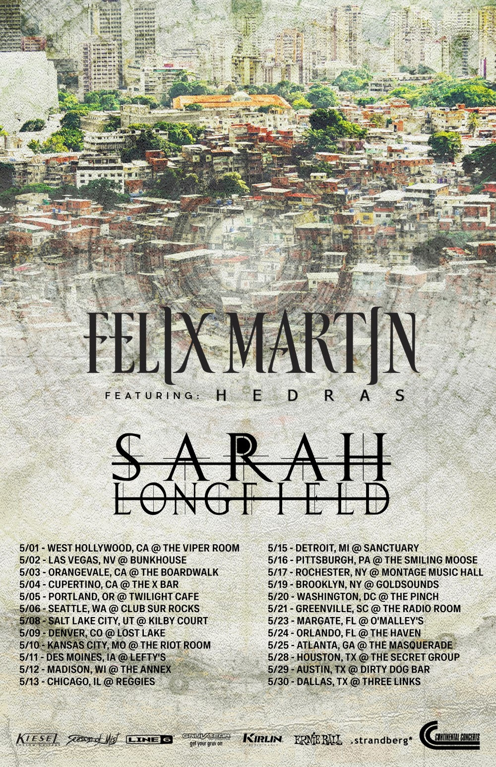 "SARAH LONGFIELD (w/ Felix Martin, Hedras):  05/01: West Hollywood, CA @ Viper Room **Tix TBA** 05/02: Las Vegas, NV @ Bunkhouse **Tix TBA** 05/03: Orangevale, CA @ The Boardwalk ( TICKETS  //  EVENT LINK ) 05/04: Cupertino, CA @ The X Bar ( TICKETS  //  EVENT LINK ) 05/05: Portland, OR @ Twilight Cafe ( TICKETS ) 05/06: Seattle, WA @ Club Sur Rocks ( TICKETS ) 05/08: Salt Lake City, UT @ Kilby Court ( TICKETS  //  EVENT LINK ) 05/09: Denver, CO @ Lost Lake ( TICKETS  //  EVENT LINK ) 05/10: Kansas City, MO @ The Riot Room ( TICKETS  //  EVENT LINK ) 05/11: Des Moines, IA @ Lefty's ( TICKETS  //  EVENT LINK ) 05/12: Madison, WI @ The Annex ( TICKETS  //  EVENT LINK ) 05/13: Chicago, IL @ Reggie's (TICKETS //  EVENT LINK ) 05/15: Detroit, MI @ Sanctuary ( TICKETS  //  EVENT LINK ) 05/16: Pittsburgh, PA @ The Smiling Moose ( TICKETS  //  EVENT LINK ) 05/17: Rochester, NY @ Montage Music Hall ( TICKETS  //  EVENT LINK ) 05/19: Brooklyn, NY @ Goldsounds ( TICKETS  //  EVENT LINK ) 05/20: Washington, DC @ The Pinch ( EVENT LINK ) 05/21: Greenville, SC @ The Radio Room ( TICKETS ) 05/23: Margate, FL @ O'Malley's ( TICKETS  //  EVENT LINK ) 05/24: Orlando, FL @ The Haven ( TICKETS  //  EVENT LINK ) 05/25: Atlanta, GA @ The Masquerade ( TICKETS  //  EVENT LINK ) 05/28: Houston, TX @ The Secret Group ( TICKETS  //  EVENT LINK ) 05/29: Austin, TX @ Dirty Dog Bar ( TICKETS  //  EVENT LINK ) 05/30: Dallas, TX @ Three Links ( TICKETS )   LONGFIELD  will be touring in support of her ambitious new album, 'Disparity,' which was released on November 30, 2018 via Season of Mist, making it the guitarist's debut to the label. 'Disparity' sees  LONGFIELD  raise her virtuoso playing and unique tapping technique (adapted from piano-playing fundamentals) to astounding new heights. Her music defies all genre constriction while artfully melding complex melodies with incredible levels of guitar shred.  LONGFIELD  is in the vanguard of young players leading the evolution of the modern guitarist, with 'Disparity' being a fascinating and mesmerizing glimpse inside the storm. Listen to 'Disparity' in full  HERE .   LONGFIELD  got her start on YouTube, cultivating a growing audience of over 215,000 subscribers.  Ultimate Guitar recently named her  one of the Top 25 YouTube Guitarists (#13).  Additionally, the 8-string extraordinaire recently debuted her first ever signature guitar via Strandberg at the 2019 NAMM Show. Details on her signature axe can be found  HERE . Photos can be found below.  After years of playing the piano and the violin, multi-instrumentalist Sarah Longfield found her true musical calling when she purchased her first 7-string guitar at the age of 13. Her first EP's 'Zeal' (2011) and 'Par Avion' (2012) received high praise from critics and fans alike.  In 2012, Longfield formed the band THE FINE CONTSTANT. In just a few years, the band released two full length albums, and toured the world supporting MARTY FRIEDMAN, ANGEL VIVALDI, POLYPHIA, and performing at festivals such as UK Tech Fest, Euroblast Fest, SXSW, and more. Her band has been hailed as "" an exceptional breed of top-notch instrumental metal""  (No Clean Singing), featuring  ""experimental know-how with a more finely-tuned approach to songwriting that bleeds together passages of spacey electronics and intertwining guitar melodies. "" (Heavy Blog is Heavy)  Longfield first gained notoriety from her prolific playthrough and guitar demonstrations on her   YouTube channel  . Since then, Longfield has uploaded a collection of over 100 videos, featuring   playthroughs  ,   cover songs  ,   solo material  , vlogs, and much more. To date, Longfield's channel has over 215,000 subscribers, and amassed millions upon millions of views."