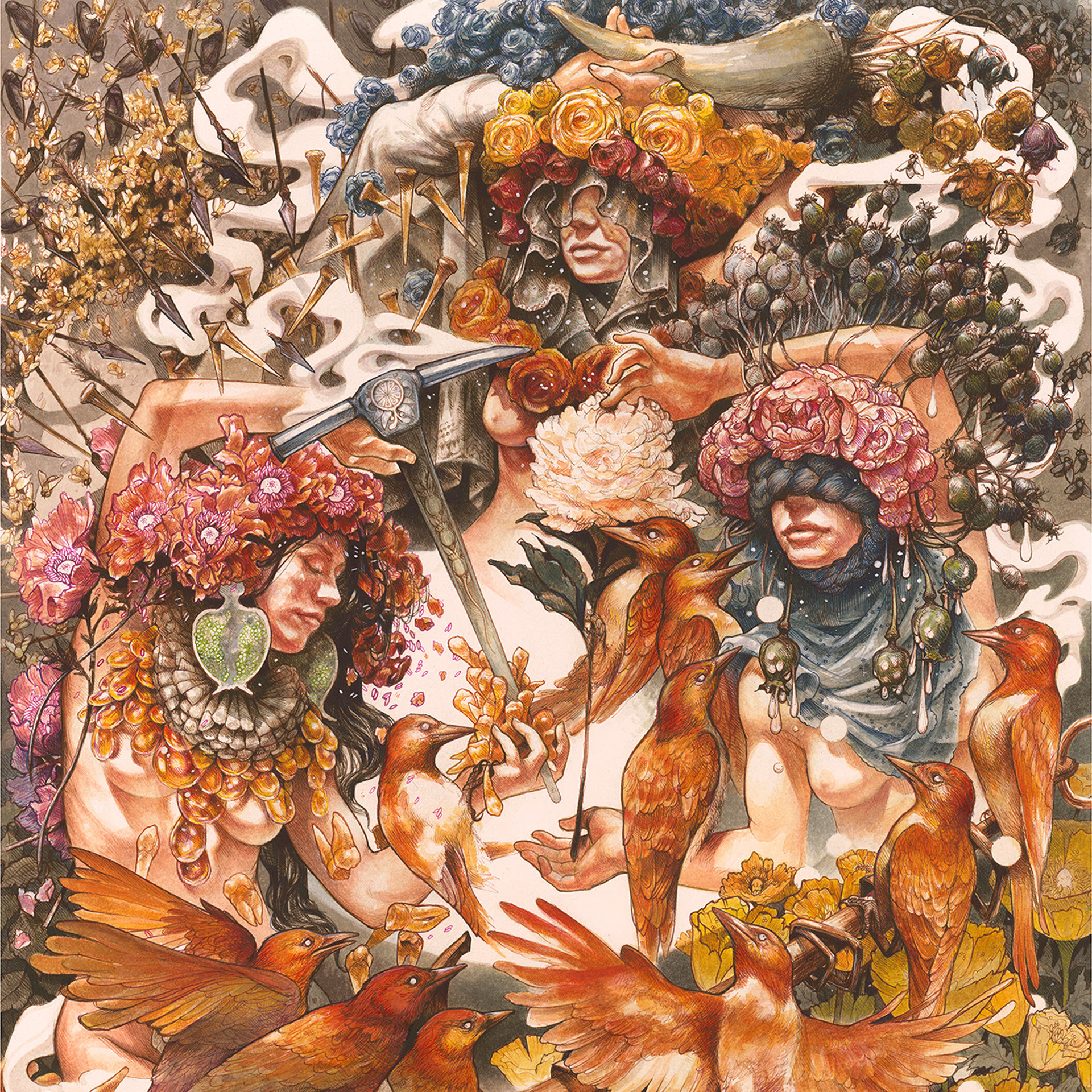 "Gold & Grey  album cover; original painting by John Baizley  Baroness release their eagerly-awaited new album,  Gold & Grey , on June 14 via Abraxan Hymns.  The band has simultaneously released a video for the song ""Borderlines"" ( https://youtu.be/tQX_oVVORFU ), which saw its live performance debut at Baroness's tour kick off last Friday in Houston.  ""Our goal is, was, and will always be to write increasingly superior, more honest and compelling songs, and to develop a more unique and challenging sound,"" offered Baroness founder, guitar player and vocalist John Baizley. ""I'm sure we have just finished our best, most adventurous album to date. We dug incredibly deep, challenged ourselves and recorded a record I'm positive we could never again replicate. I consider myself incredibly fortunate to know Sebastian, Nick and Gina as both my bandmates and my friends. They have pushed me to become a better songwriter, musician and vocalist. We're all extremely excited for this release, which includes quite a few 'firsts' for the band, and we're thrilled to be back on tour to play these psychotic songs for our fans. Expect some surprises.""  While  Gold & Grey  found the outfit once again working with  Purple  producer Dave Fridmann (The Flaming Lips, Mogwai), sequestering themselves at Fridmann's remote upstate New York Tarbox Road Studio, the 17-track album ushered in two significant changes: a decidedly different recording process and guitar player Gina Gleason's debut on a Baroness recording. The band, who tracked portions of the vocals, guitars and overdubs in Baizley's home-basement studio, another first for the band, eschewed their normal routine of entering the studio with meticulously detailed plans and instead opted for a looser, more improvisational approach that resulted in the band's most collaborative and emotionally evocative release to date.  ""On  Gold & Grey  we have taken some unexpected paths on a labyrinthine sonic adventure. We accepted sounds and styles that have not appeared on previous Baroness albums, and I'm excited to welcome our fans into our new lair,"" added drummer Sebastian Thomson.  ""Having the chance to create music without any preconceived boundaries was both liberating and intimidating,"" explains guitar player Gina Gleason. ""As we pushed past our fear and comfort zone, the four of us connected in a way that allowed us to create freely, uplift one another and build the unique sonic world that is  Gold & Grey . As a longtime Baroness listener, it is exciting to have created something new while still maintaining a deep love and understanding of the band's roots. To say that the making of this record was quite a journey would be an understatement. We are beyond excited to share this experience and music with everyone!""  Baroness tour dates (co-headline w/Deafheaven; Zeal & Ardor open on all dates):  March 14 Anaheim, CA House of Blues Anaheim  March 16 Berkeley, CA The UC Theatre  March 18 Portland, OR Roseland Theater  March 19 Seattle, WA The Showbox  March 20 Vancouver, BC Vogue Theatre  March 22 Edmonton, AB Union Hall  March 23 Calgary, AB The Palace Theatre  March 24 Spokane, WA Knitting Factory  March 26 Salt Lake City, UT The Complex  March 27 Denver, CO The Ogden Theater  March 29 Minneapolis, MN Skyway Theatre  March 30 Madison, WI The Sylvee  March 31 Chicago, IL Riviera Theatre  April 2 Toronto, ON Danforth Music Hall  April 3 Montreal, QC Corona Theatre  April 5 Sayreville, NJ Starland Ballroom  April 6 Worcester, MA The Palladium  April 7 Albany, NY Upstate Concert Hall  April 9 Cleveland, OH Agora Theater  April 10 Silver Spring, MD The Fillmore  April 12 New York, NY Terminal 5  April 13 Philadelphia, PA Decibel Metal & Beer Fest (The Fillmore Philadelphia)"