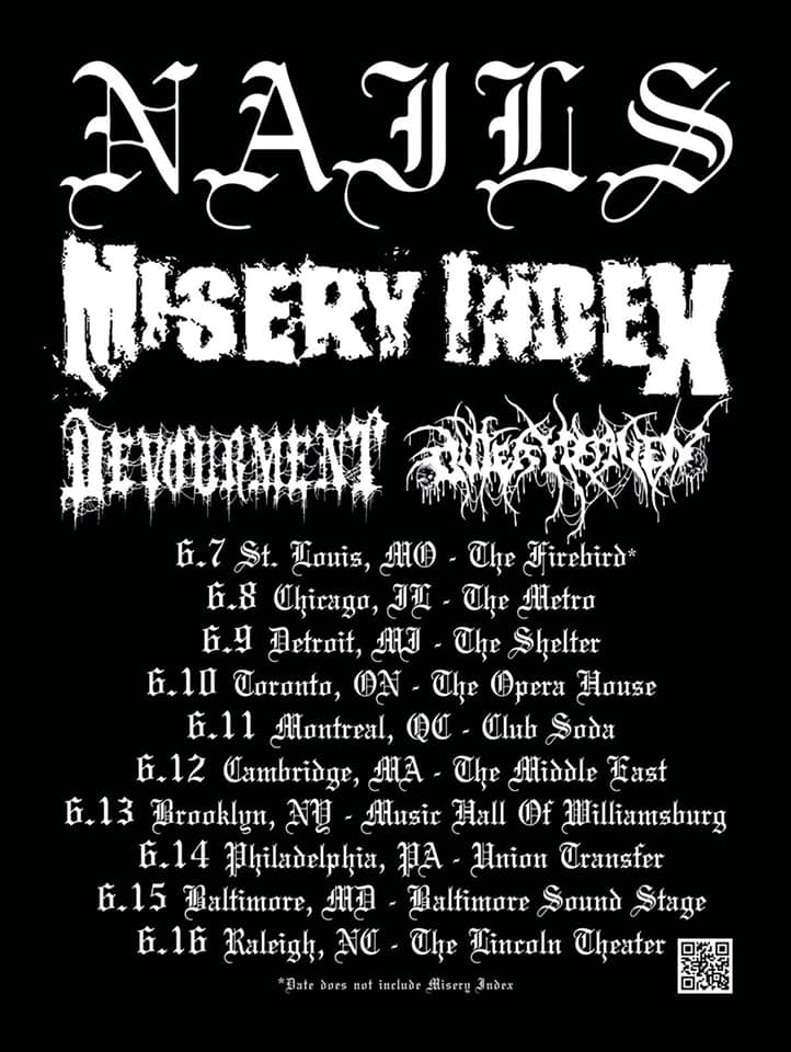 "MISERY INDEX  will take to the streets this June on a North American tour as direct support to Nails. The journey will commence on June 8th in Chicago, Illinois and conclude on June 16th in Raleigh, North Carolina. Additional support will be provided by Devourment and Outer Heaven. See all confirmed dates below.  Issues the band, ""We are beyond stoked to hit the road on this extra-special and extra-brutal run with our friends in Nails, Devourment, and Outer Heaven. We'll be playing a few tracks of the new record  Rituals Of Power , as well as bringing the classic heaviness. Come out to the shows, and LET'S GRIND.""    MISERY INDEX   will be touring in support of their critically-adored  Rituals Of Power  full-length,released earlier this year via Season Of Mist .  Stream  Rituals Of Power  in its entirety at     THIS LOCATION  .For ordering options visit  THIS LOCATION .  In related news,  MISERY INDEX  guitarist/vocalist Mark Kloeppel has been featured in an exclusive ESP guitars gear segment, in which he discusses why he is devoted to his LTD EX-401 model. The video can viewed at  THIS LOCATION .   MISERY INDEX w/ Nails, Devourment, Outer Heaven:  6/08/2019 Metro - Chicago, IL [ tickets ] 6/09/2019 The Shelter - Detroit, MI [ tickets ] 6/10/2019 Opera House - Toronto, ON [ tickets ] 6/11/2019 Club Soda - Montreal, QC [ tickets ] 6/12/2019 Middle East - Boston, MA [ tickets ] 6/13/2019 Music Hall of Williamsburg - Brooklyn, NY [ tickets ] 6/14/2019 Union Transfer - Philadelphia, PA [ tickets ] 6/15/2019 Baltimore Soundstage - Baltimore, MD [ tickets ] 6/16/2019 Lincoln Theater - Raleigh, NC [ tickets ]   ""   MISERY INDEX    have grown into a behemoth, taking what they've learned along the way to construct a fantastic, powerful and moving deathgrind album."" - Decibel    ""...a neck-snapping journey through tight grooves, crunching riffs, and the undeniable urge to put your fist through a couple layers of sheetrock."" - Loudwire    ""Rituals Of Power is    MISERY INDEX   's most fully-realized material to date. It takes the no-bullshit nihilistic/slightly unkempt bedroom of powerviolence, and tidies things up with the ritualistic, OCD-laden grooves heard within conventional, modern-day death metal."" - Metal Injection    ""...one in a long line of painfully underrated releases from this band who only know how to fire on all cylinders all of the time."" - Metal Insider    http://www.miseryindex.com   http://www.facebook.com/MiseryIndex/   http://twitter.com/miseryindex   http://www.instagram.com/miseryindex_official/   http://www.youtube.com/c/MiseryIndexOfficial   http://www.season-of-mist.com   http://www.facebook.com/seasonofmistofficial   http://twitter.com/SeasonofMist"