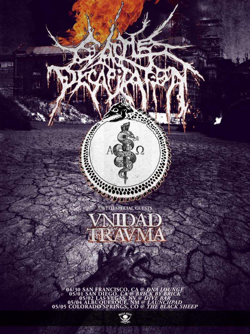 "CATTLE DECAPITATION  will kick off a five-date mini-tour with special guests/grindcore merchants Unidad Trauma next week. The journey will rampage its way through San Francisco, San Diego, Las Vegas, Albuquerque, and Colorado Springs. See all confirmed dates below.   CATTLE DECAPITATION w/ Unidad Trauma:  4/30/2019 DNA - San Francisco, CA 5/01/2019 Brick By Brick - San Diego, CA w/ Cave Bastard, Temblad 5/02/2019 Dive Bar - Las Vegas, NV w/ Guttural Secrete, Excerebration 5/04/2019 Launchpad - Albuquerque, NM w/ Suspended, Snot Goblin 5/05/2019 Black Sheep - Colorado Springs, CO   CATTLE DECAPITATION  released their  Medium Rarities  full-length last fall via Metal Blade Records. Featuring six previously unreleased pre- Human Jerky  demos (1999) with frontman Travis Ryan on guitar (while also handling vocal duties), plus the long-sought-after  To Serve Man  (2002) bonus track, ""Rotting Children For Remote Viewing,"" as well as the six songs from 2005's split EP with Caninus and other rarities, the collection spans the band's twenty-two-year long career and is a must-have for any  CATTLE DECAPITATION  devotee.  To preview and purchase  Medium Rarities , visit:  metalblade.com/cattledecapitation .   http://www.facebook.com/cattledecapitation   http://www.twitter.com/cattledecap   http://www.youtube.com/officialcattledecap   http://www.instagram.com/cattledecapitation   http://www.metalblade.com/cattledecapitation"